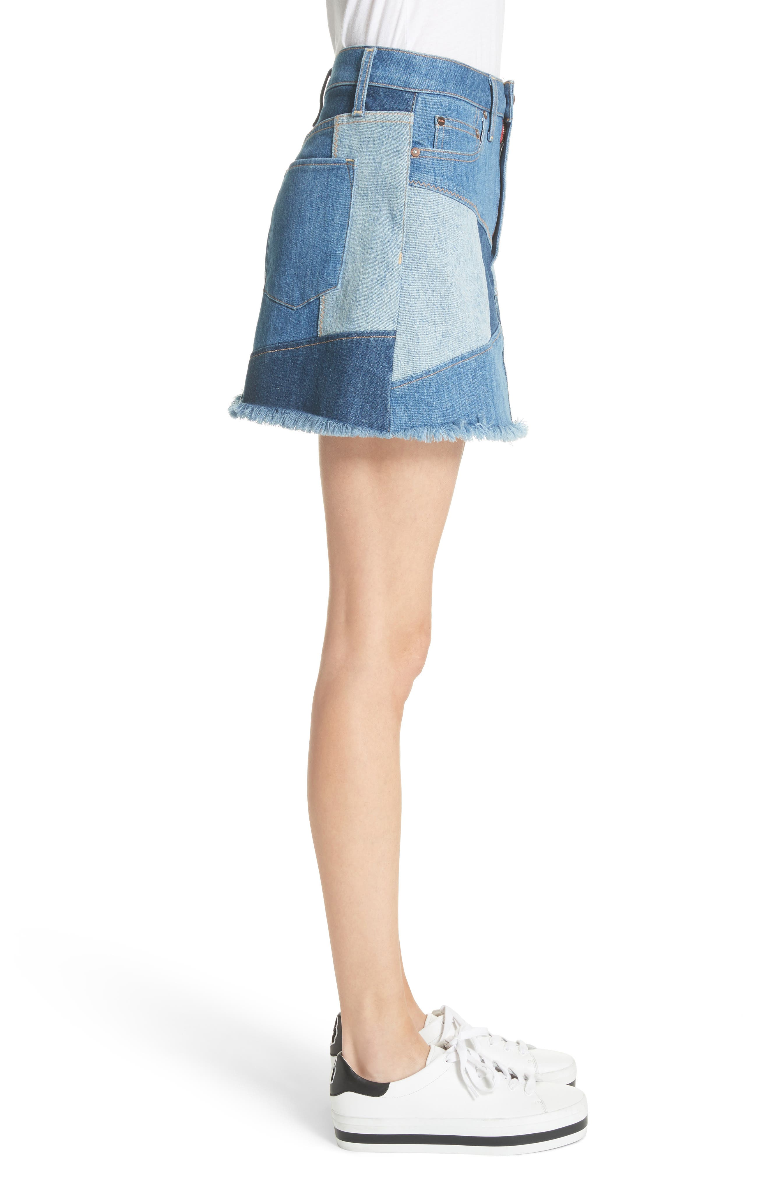 AO.LA Patchwork Denim Miniskirt,                             Alternate thumbnail 3, color,                             485