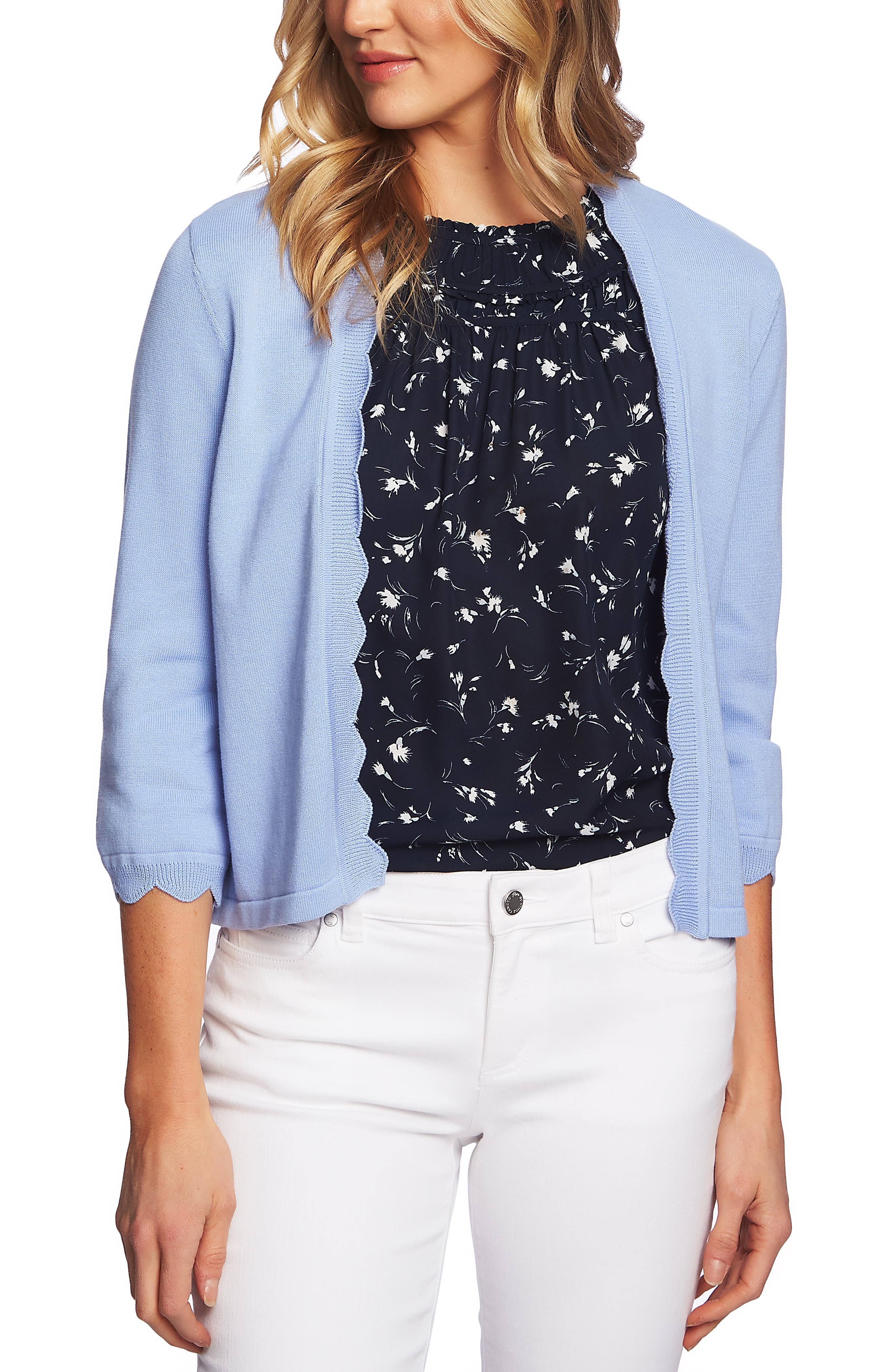 Open Front Scalloped Cardigan by Cece