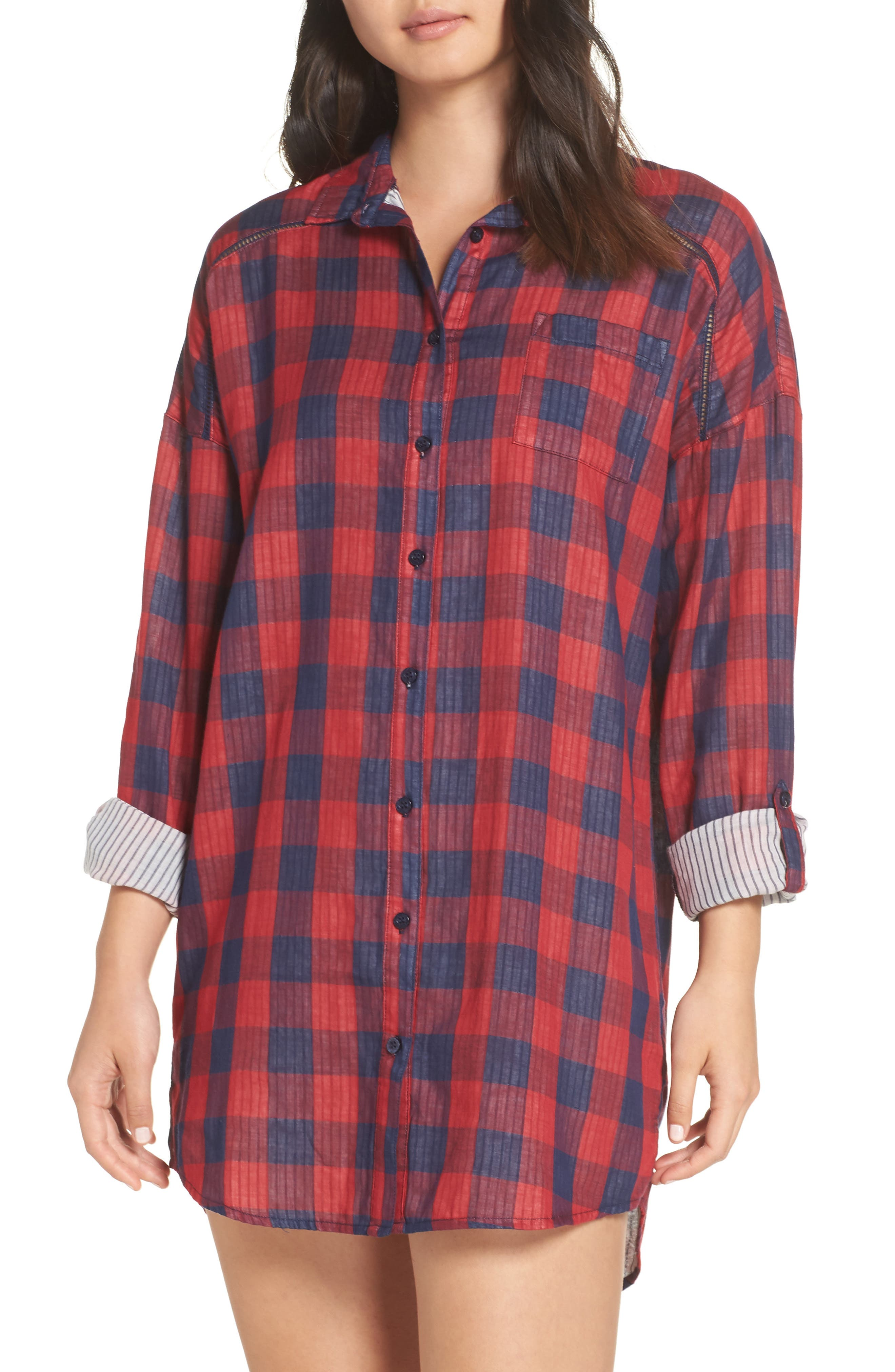 Check Nightshirt,                         Main,                         color, RED