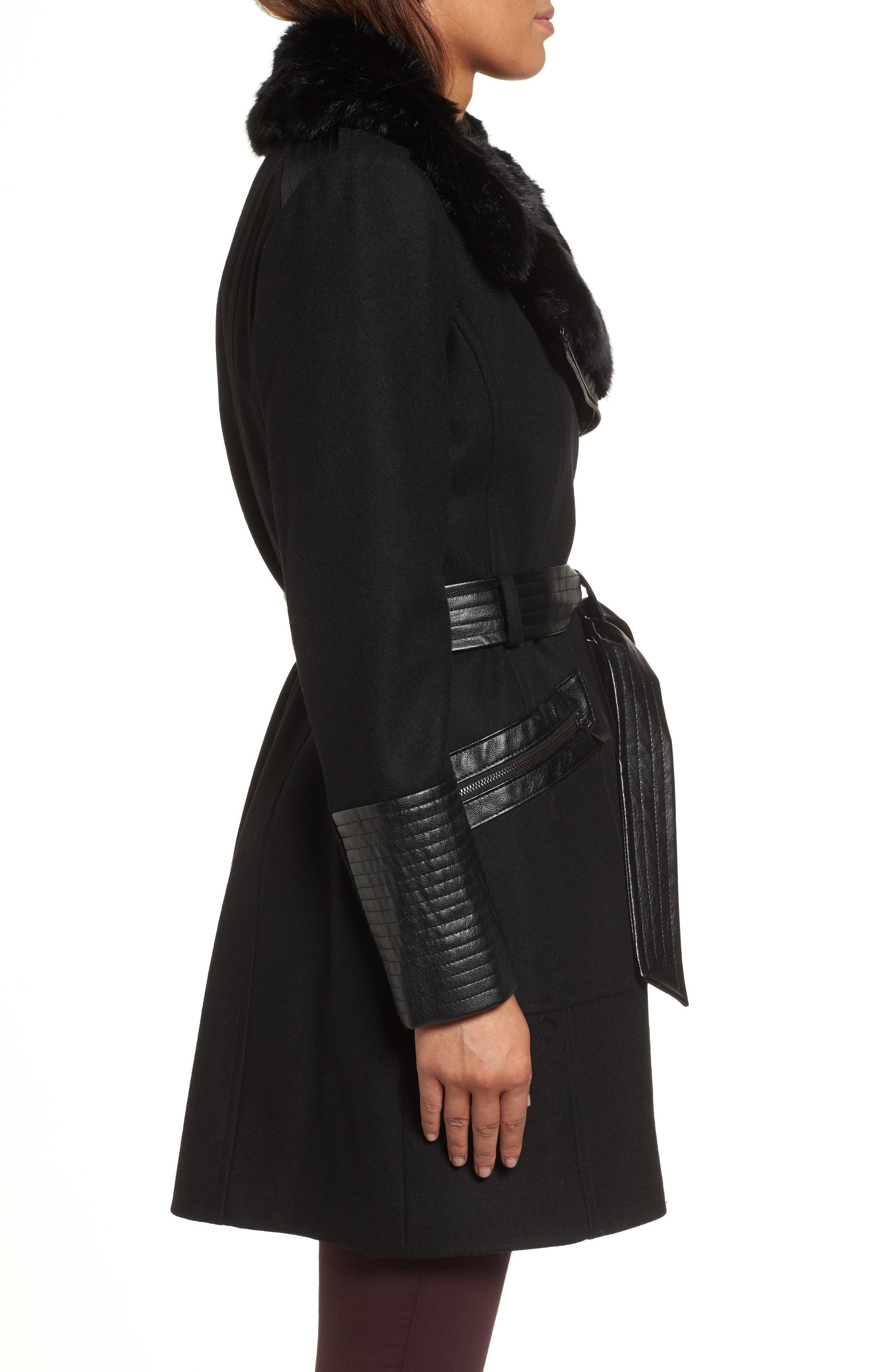 Faux Leather & Faux Fur Trim Belted Wool Blend Coat,                             Alternate thumbnail 25, color,