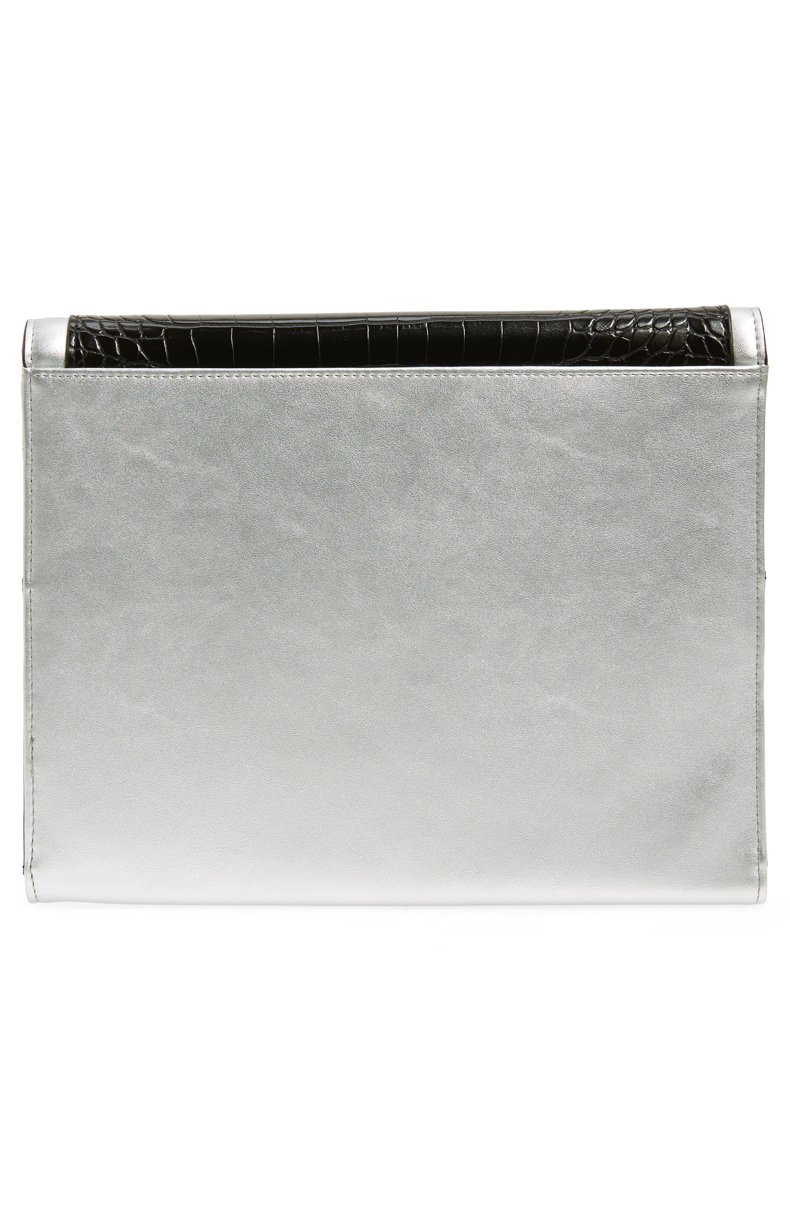 LEITH,                             Colorblock Faux Leather Envelope Clutch,                             Alternate thumbnail 3, color,                             001