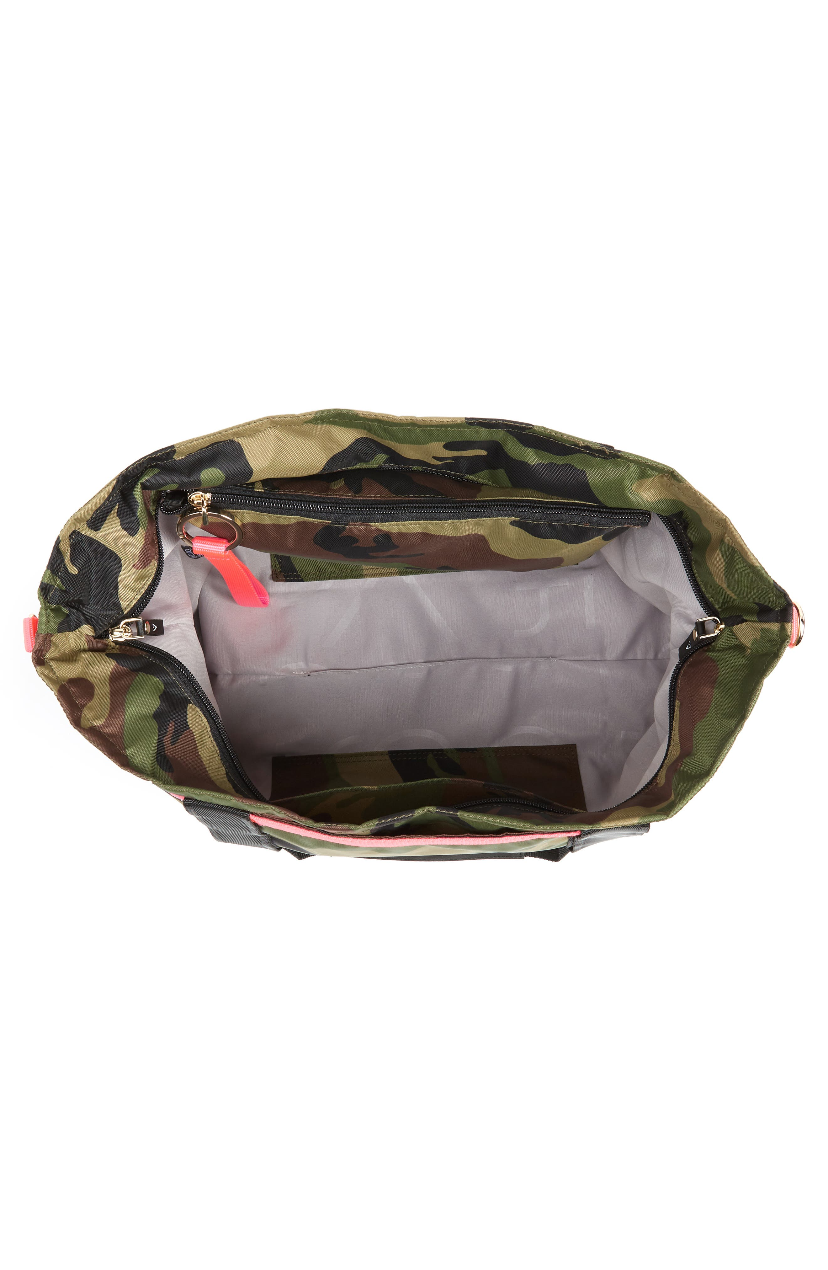 The ANDI Camo Convertible Tote,                             Alternate thumbnail 5, color,                             WOODLAND CAMOUFLAGE/ HOT PINK