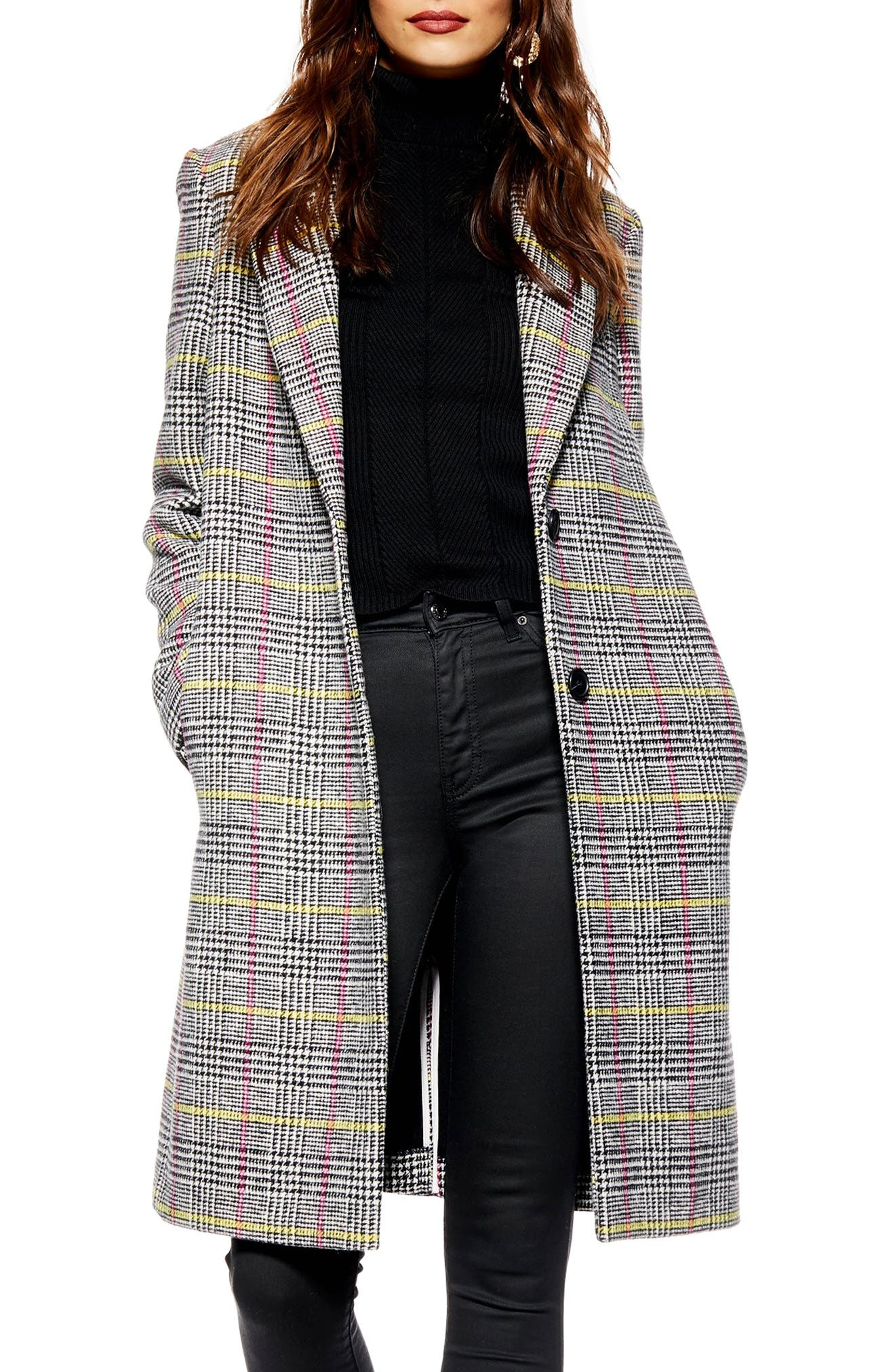 TOPSHOP,                             Piper Check Jacket,                             Main thumbnail 1, color,                             BLACK MULTI