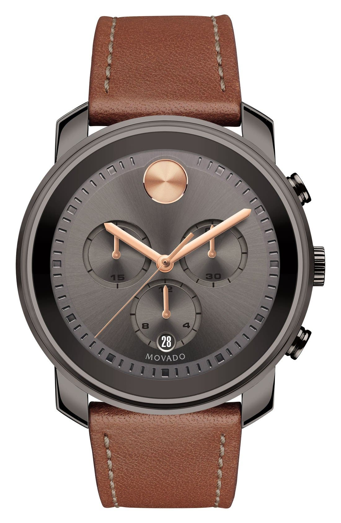 'Bold' Chronograph Leather Strap Watch, 44mm,                         Main,                         color, BROWN/ GREY