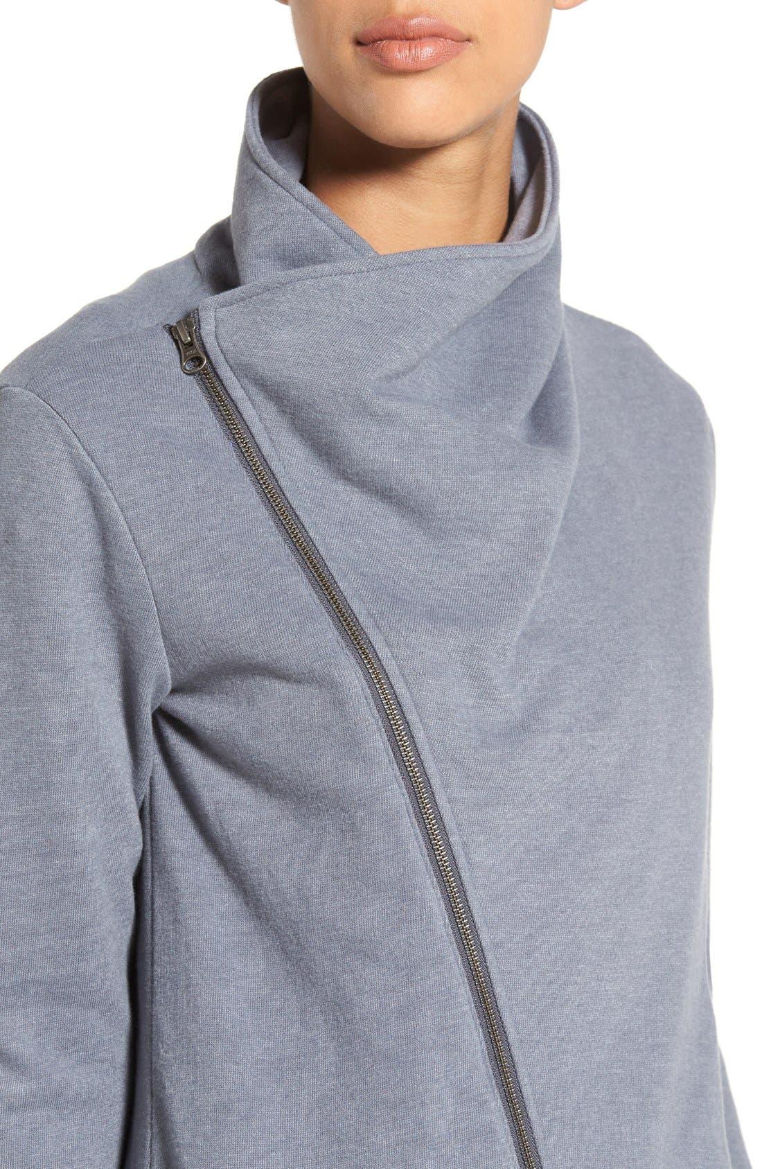 Asymmetrical Drape Collar Terry Jacket,                             Alternate thumbnail 10, color,                             GREY