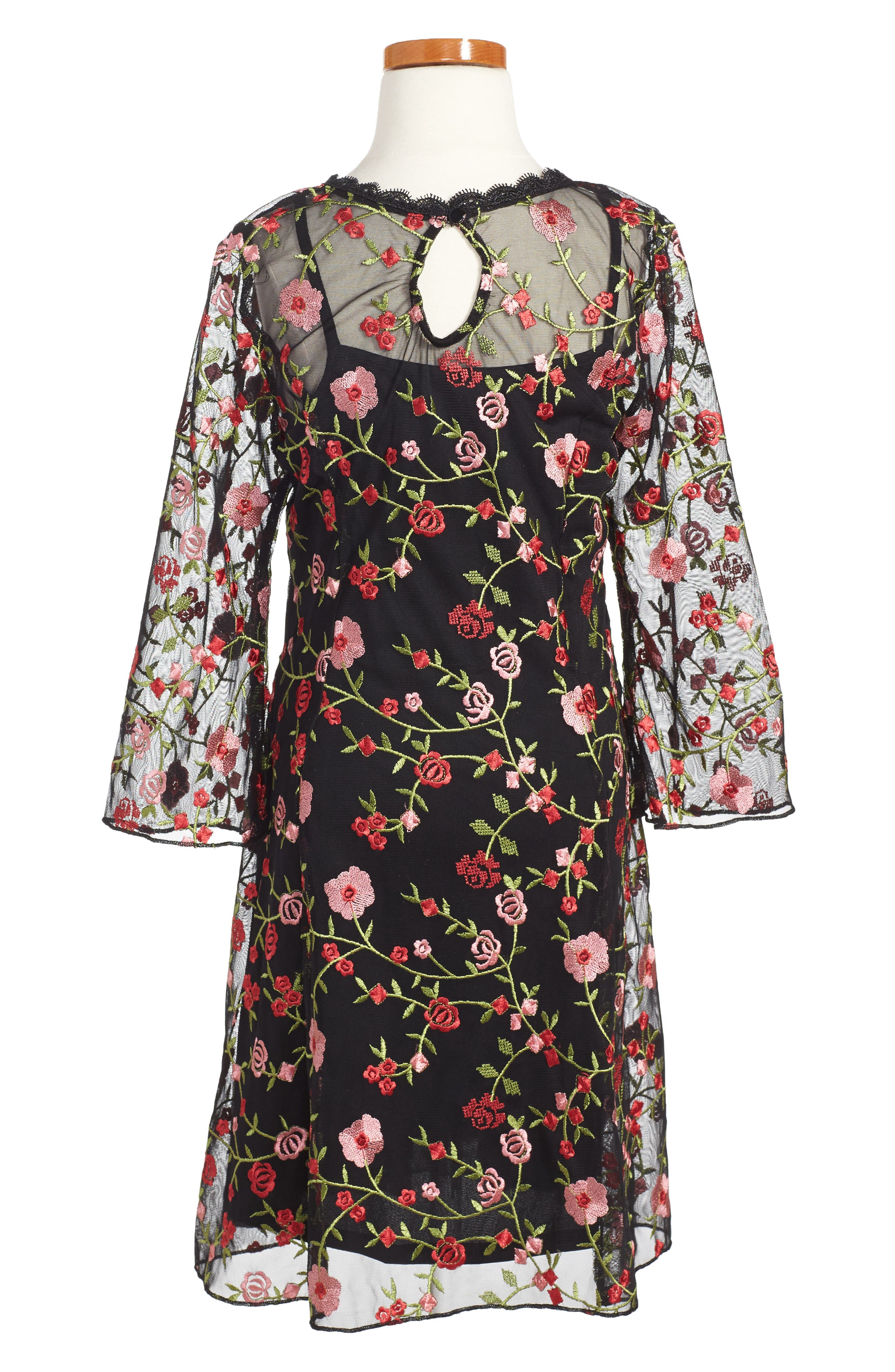 Floral Embroidered Shift Dress,                             Alternate thumbnail 2, color,                             006