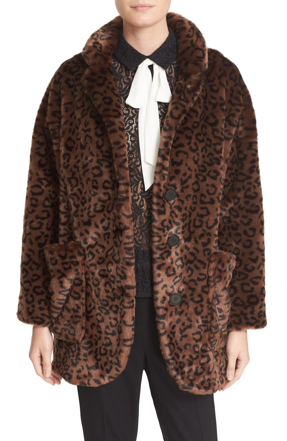 Leopard Print Faux Fur Coat,                             Main thumbnail 1, color,                             200