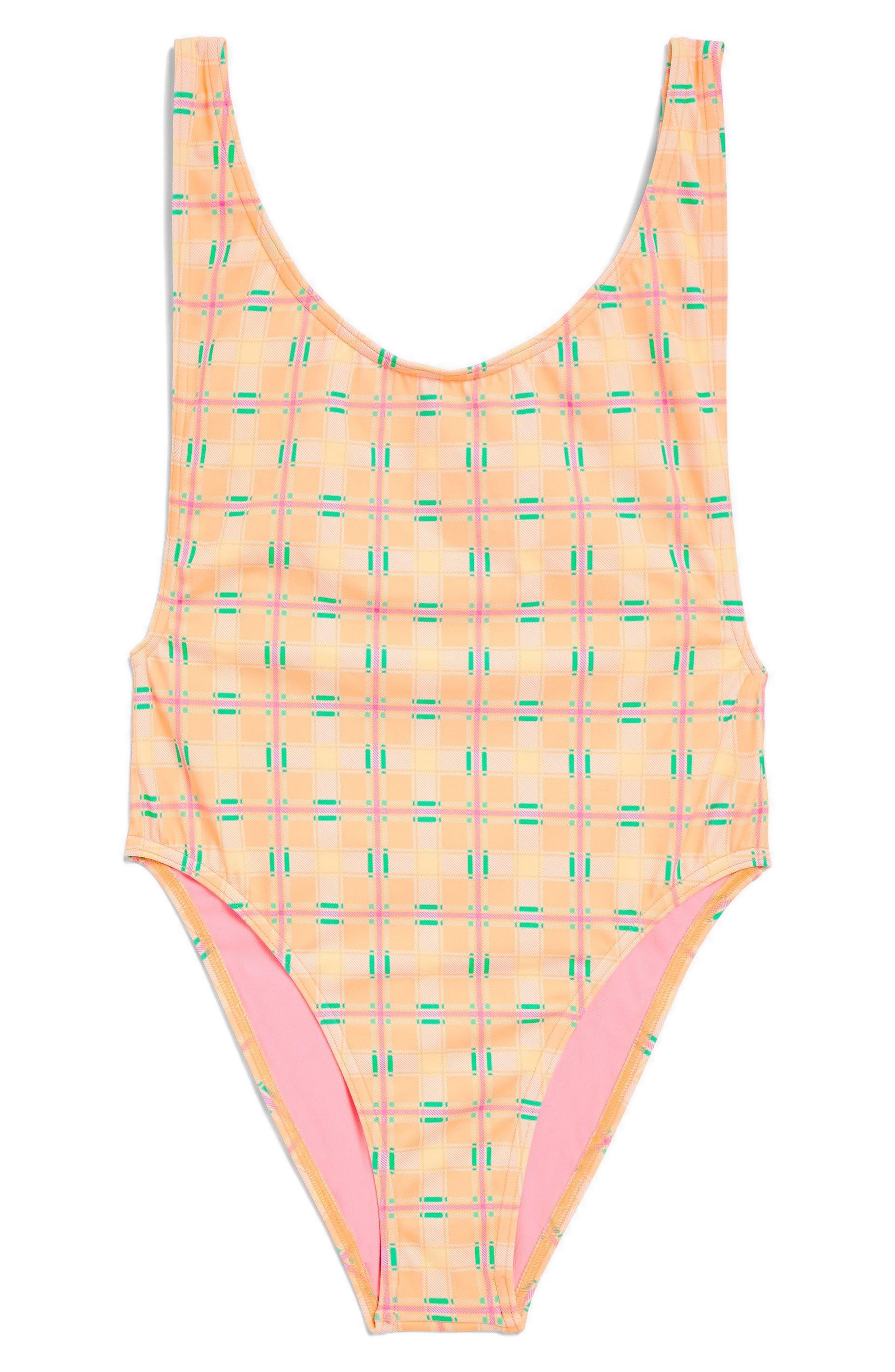 Check Print One-Piece Swimsuit,                             Alternate thumbnail 3, color,                             800