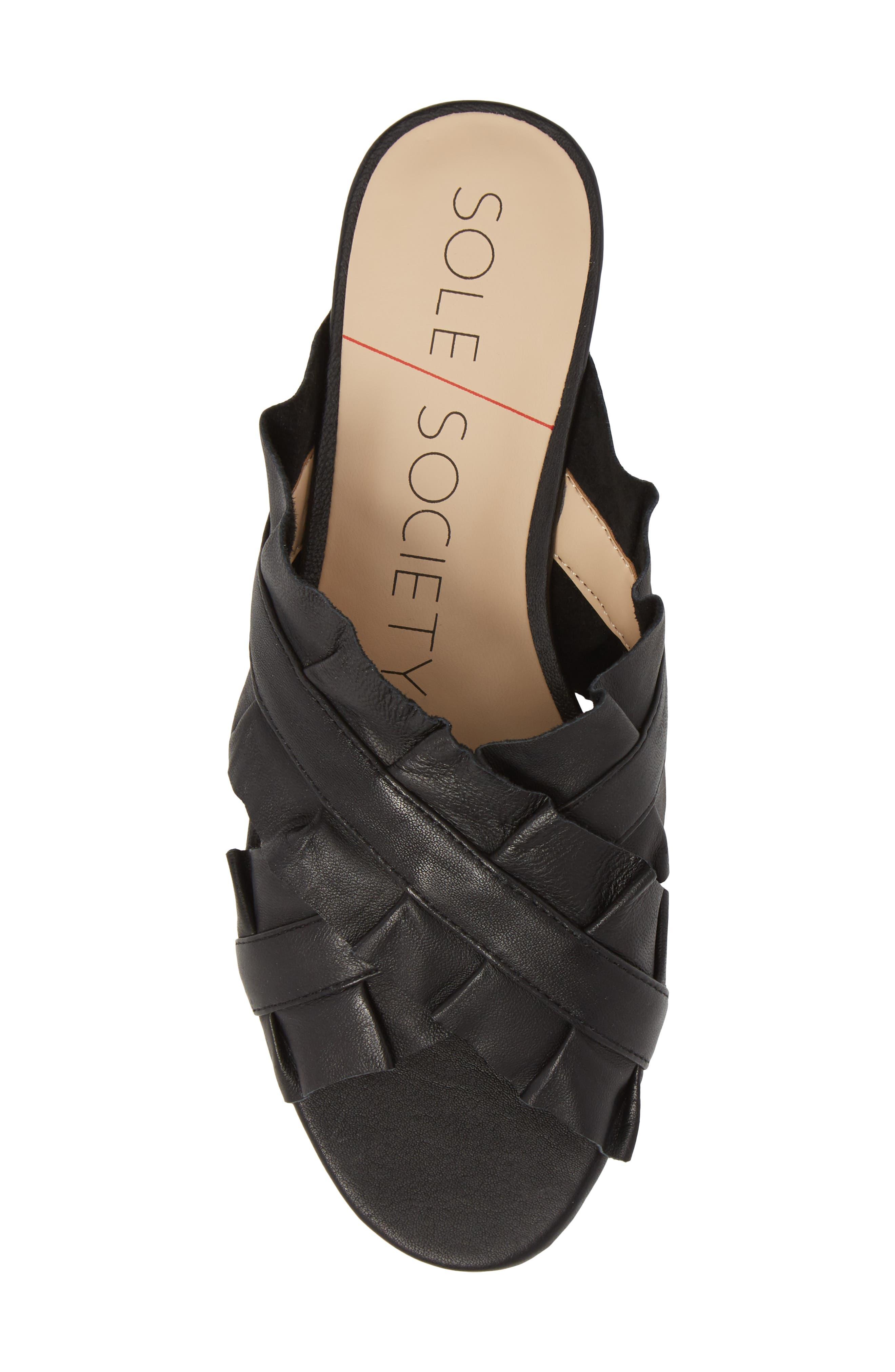SOLE SOCIETY,                             Mandi Slide Sandal,                             Alternate thumbnail 5, color,                             BLACK