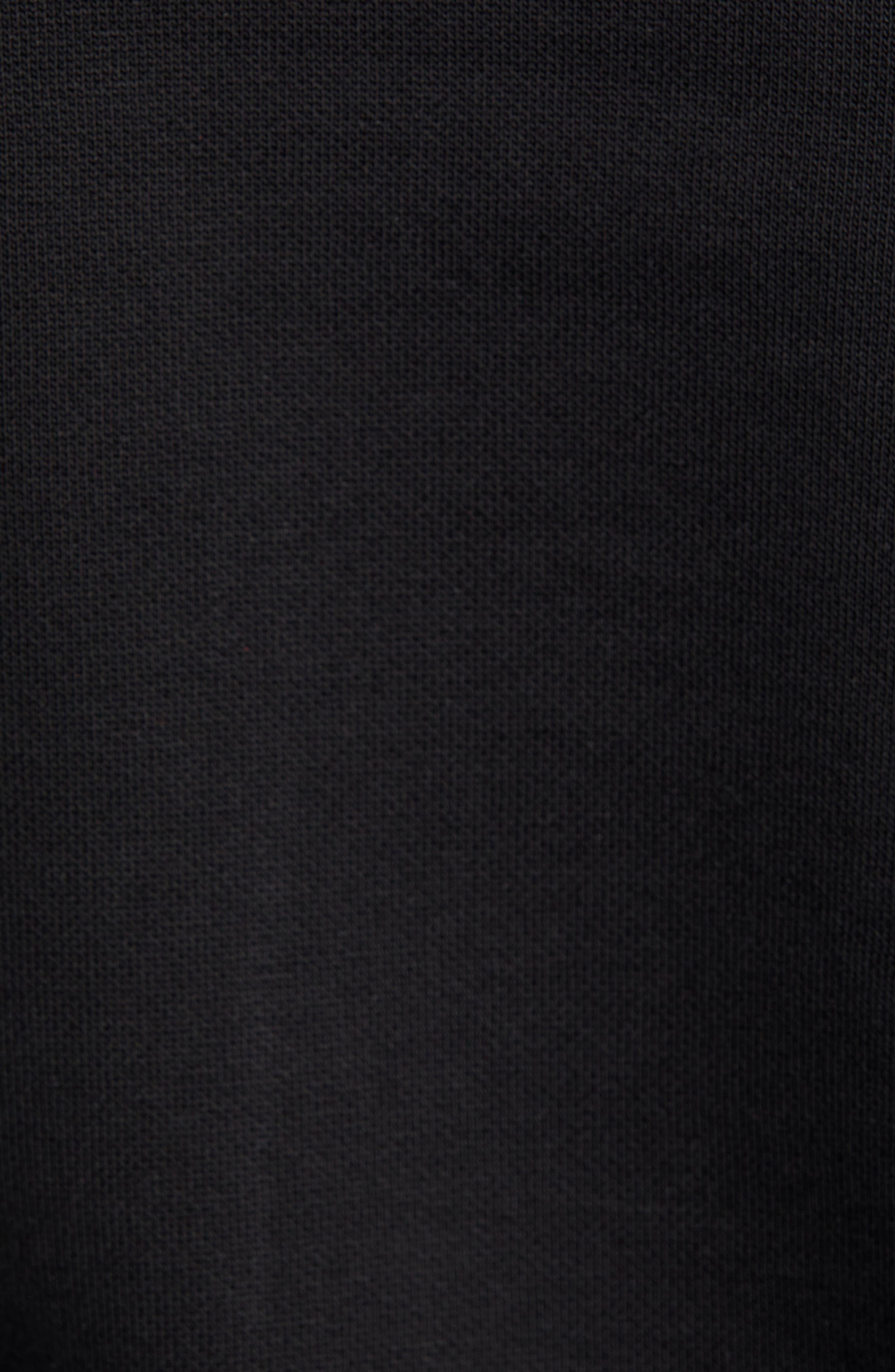 Logo Embroidered Hooded Sweatshirt,                             Alternate thumbnail 5, color,                             BLACK / WHITE
