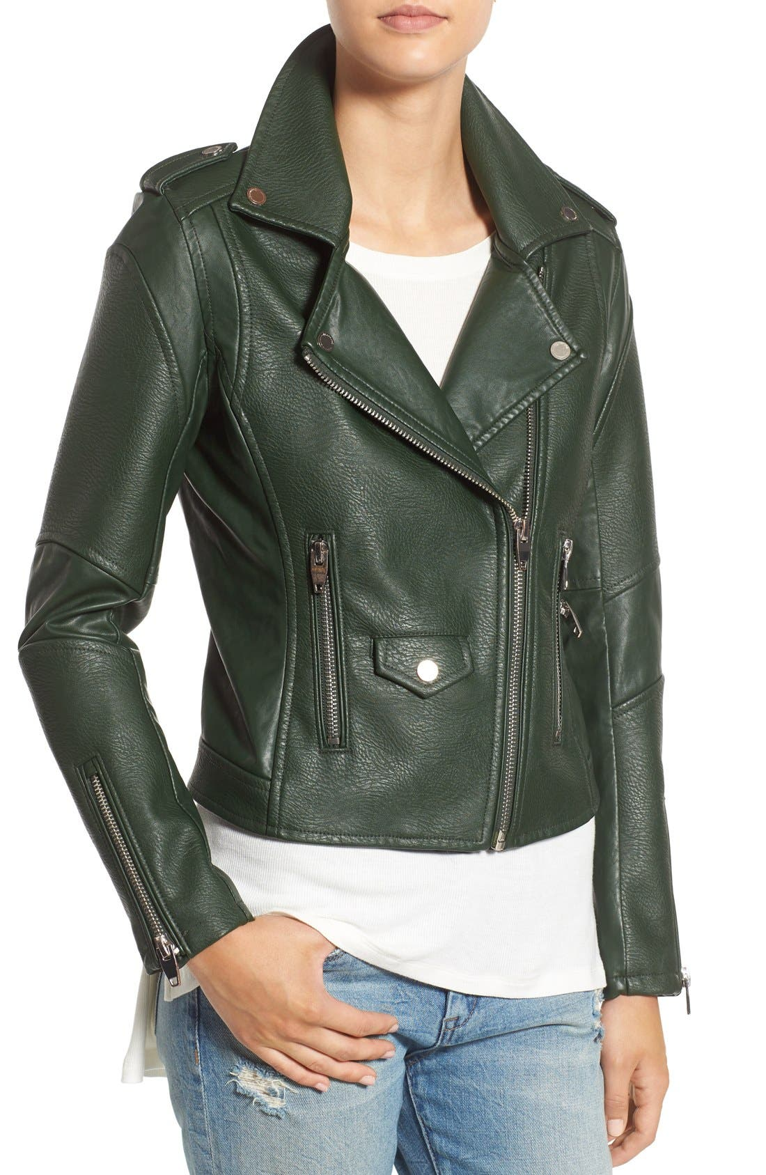 'Easy Rider' Faux Leather Moto Jacket,                             Alternate thumbnail 23, color,