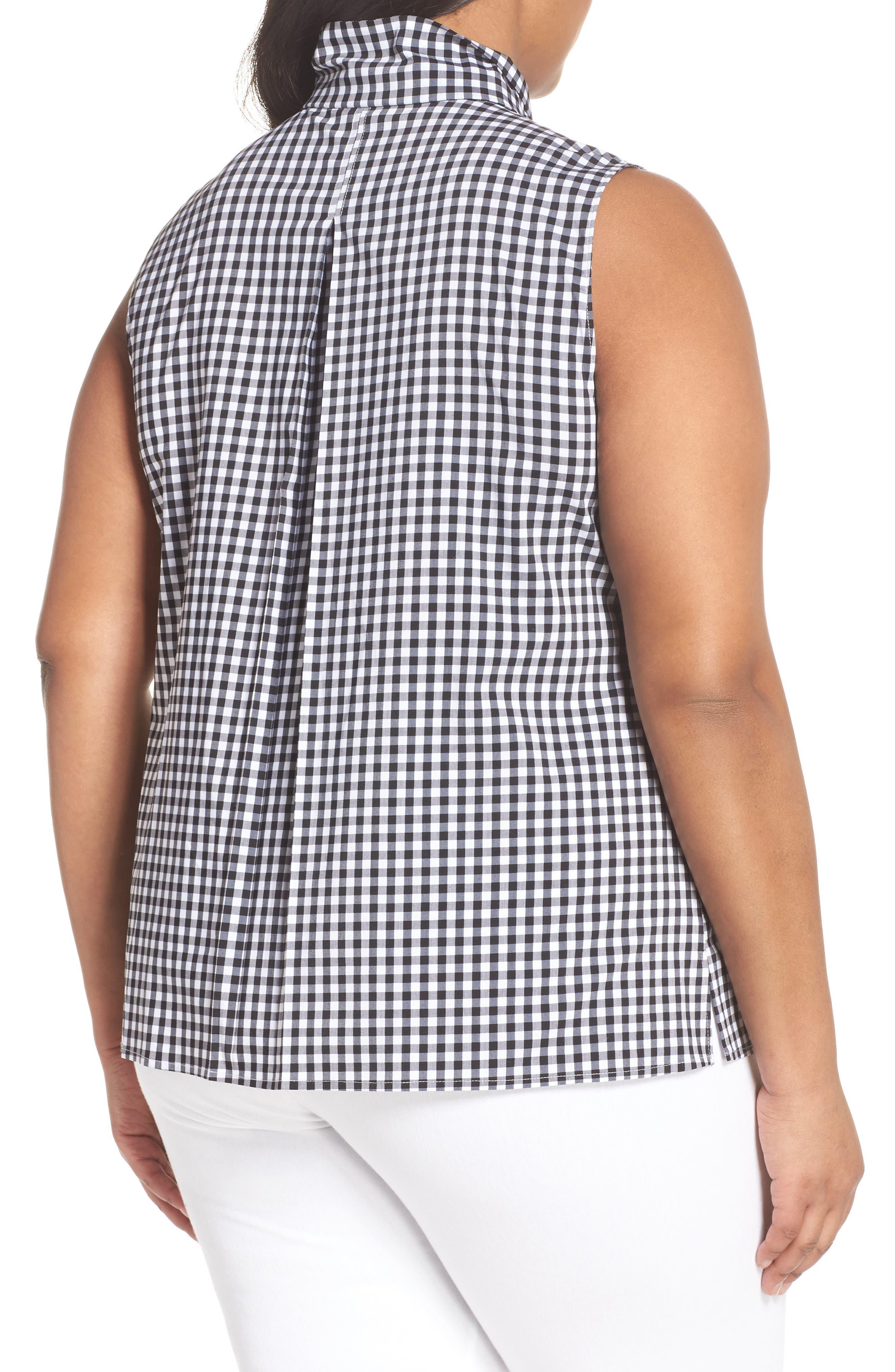 Tie Collar Cotton Blend Top,                             Alternate thumbnail 2, color,                             001