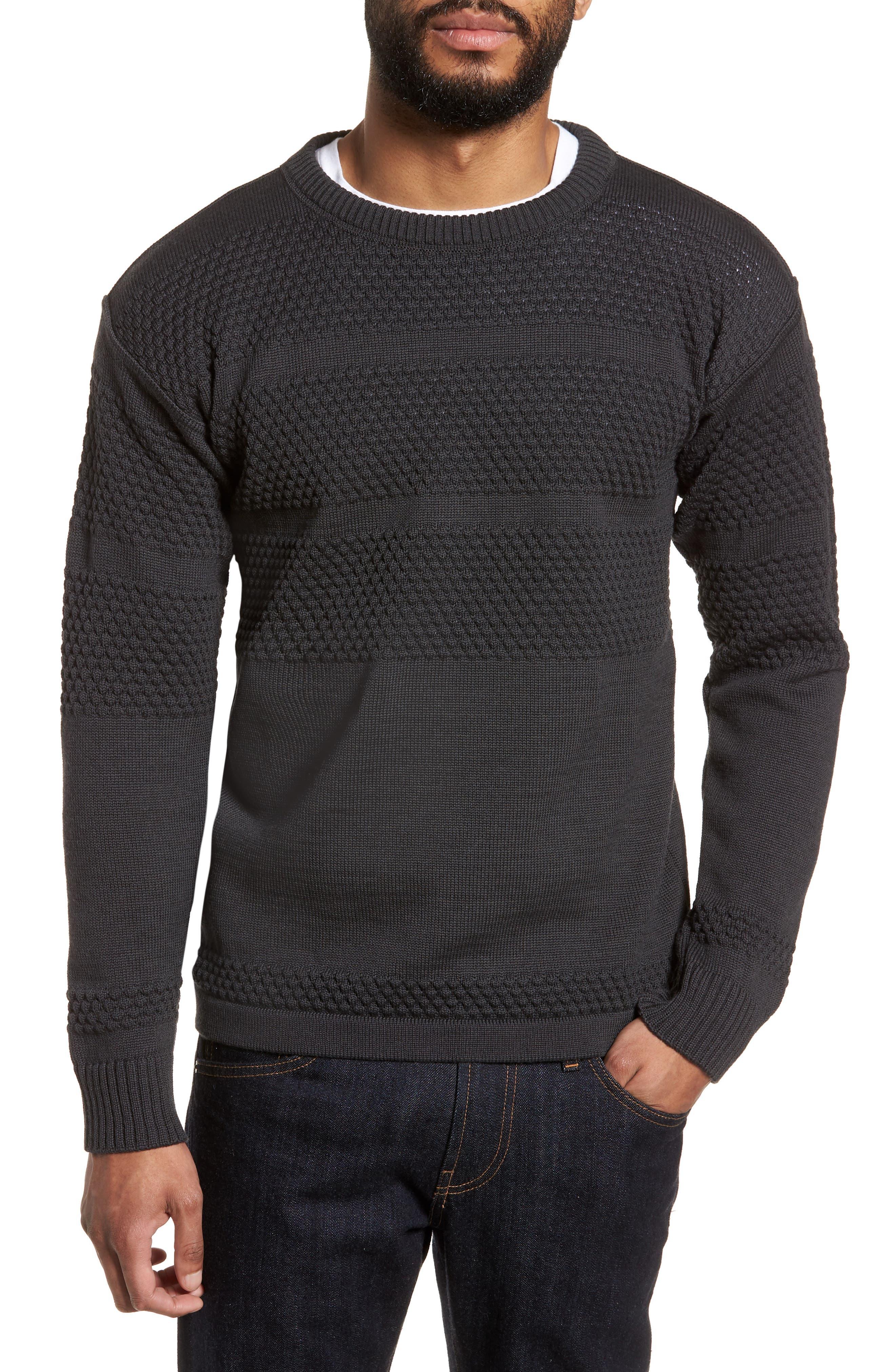 Fisherman Crewneck Wool Sweater,                             Main thumbnail 1, color,                             020