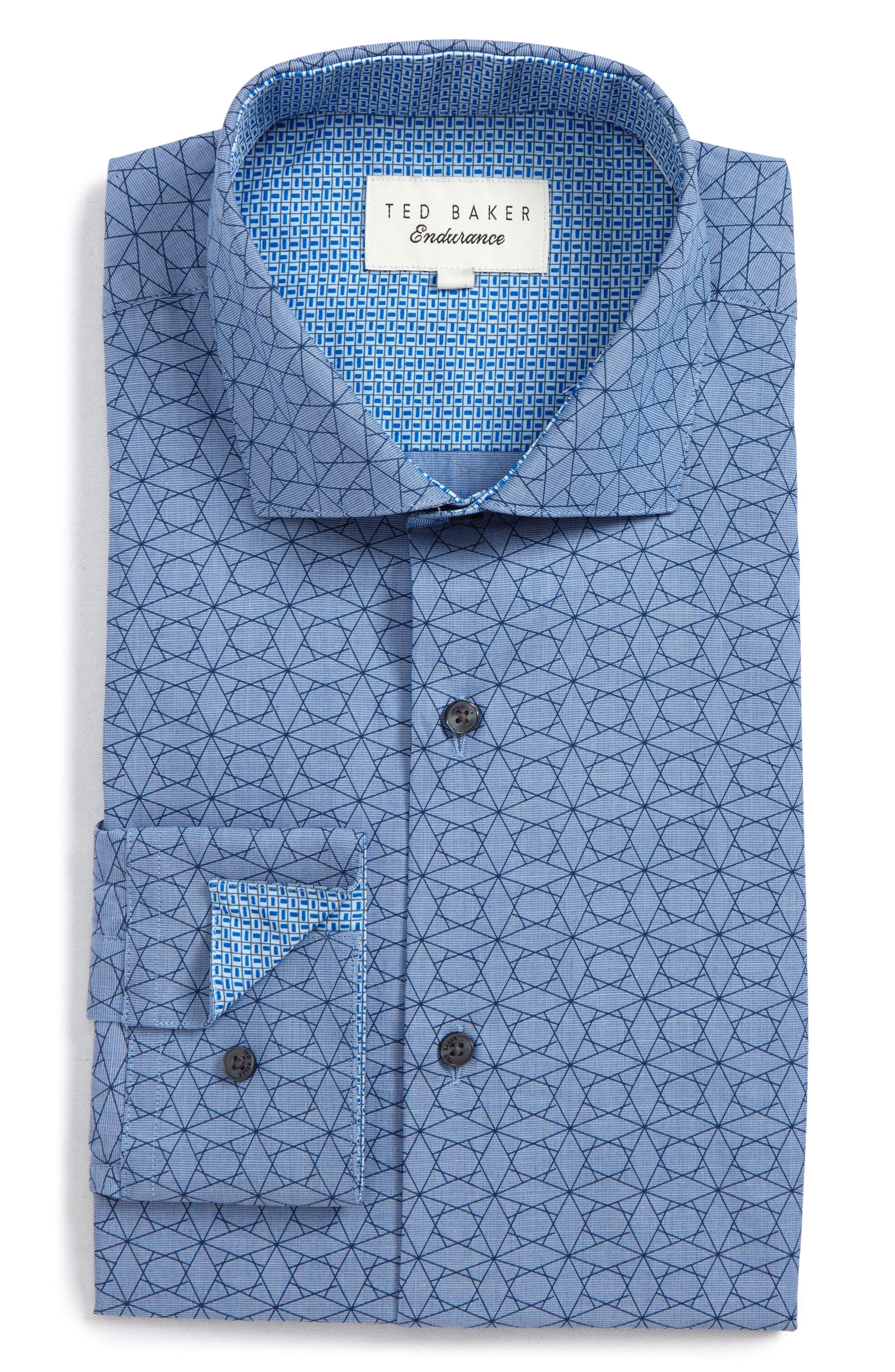 Endurance Madamm Trim Fit Geometric Dress Shirt,                         Main,                         color, BLUE