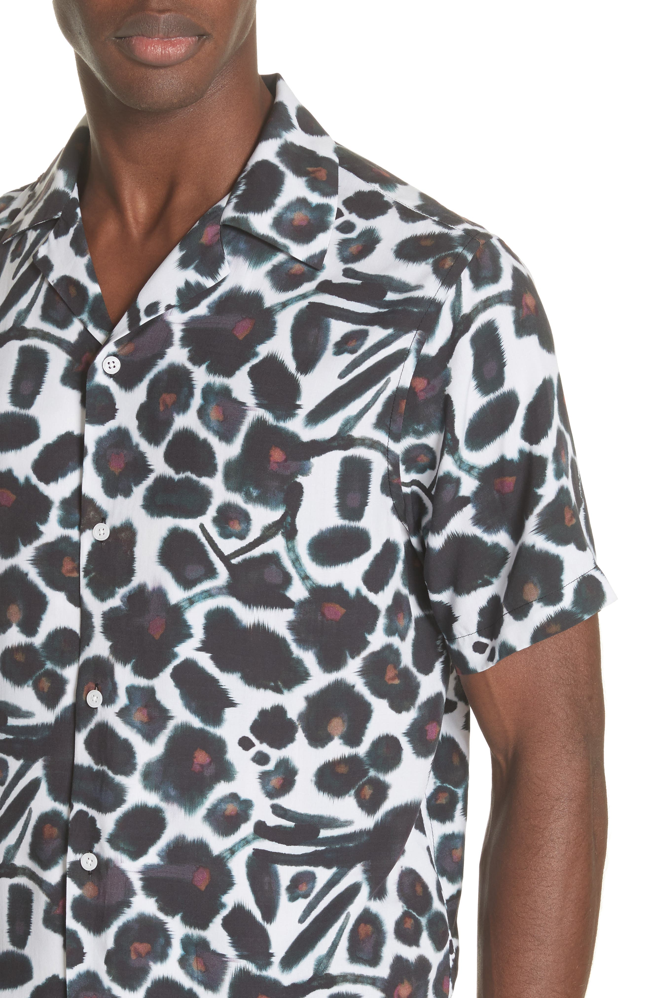 Canty Watercolor Floral Print Camp Shirt,                             Alternate thumbnail 4, color,                             599