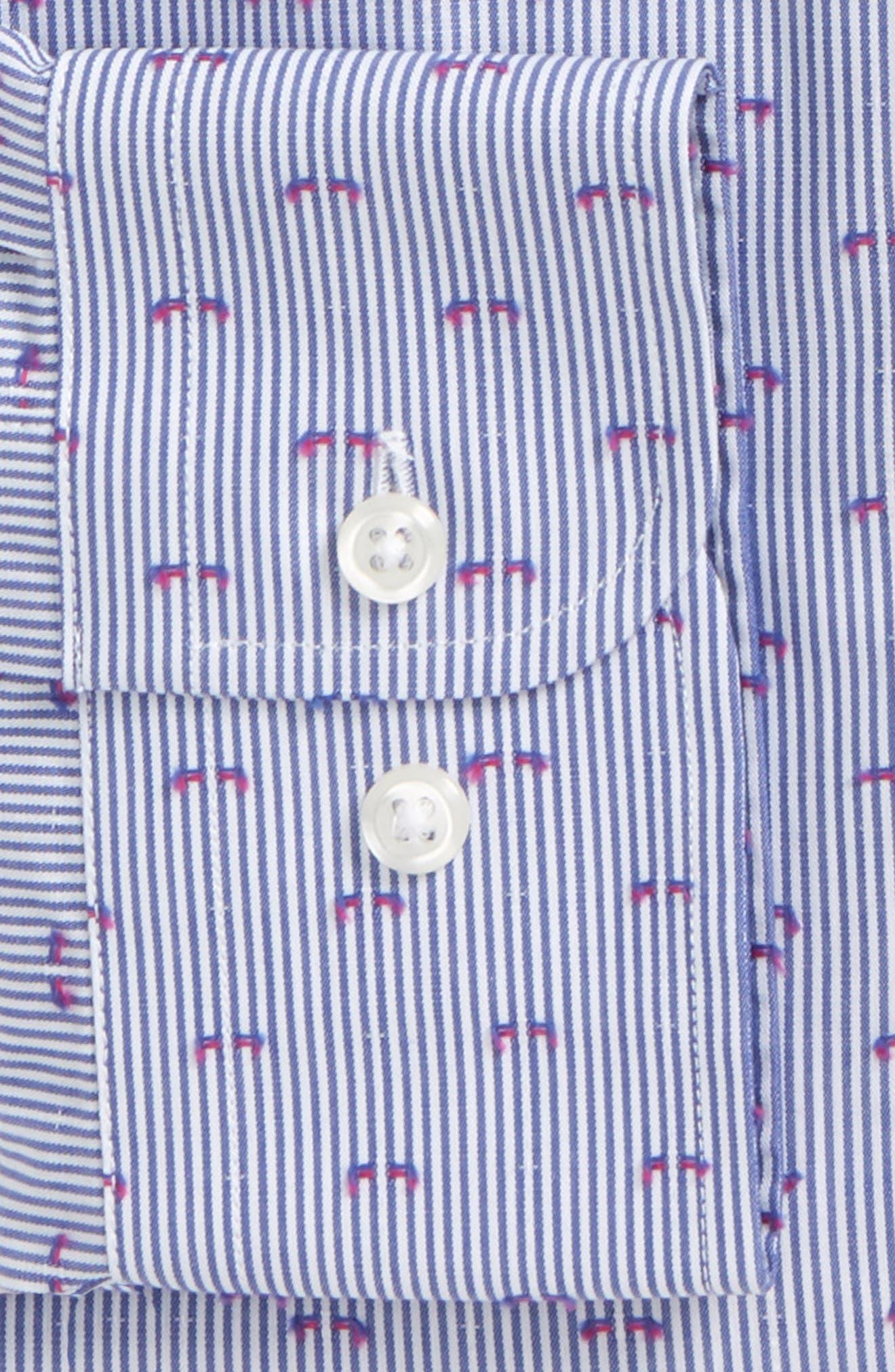 Trim Fit Stripe Fil Coupé Dress Shirt,                             Alternate thumbnail 2, color,