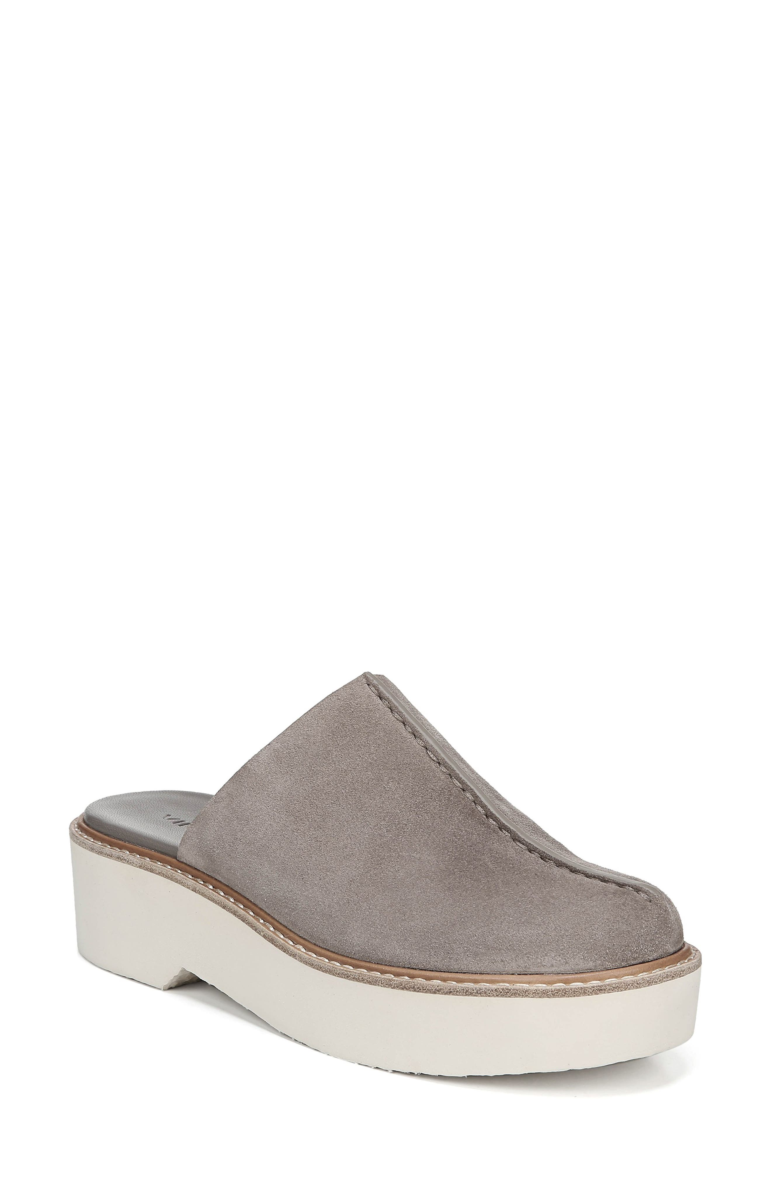 Adler Genuine Shearling Lined Platform Mule in Light Woodsmoke