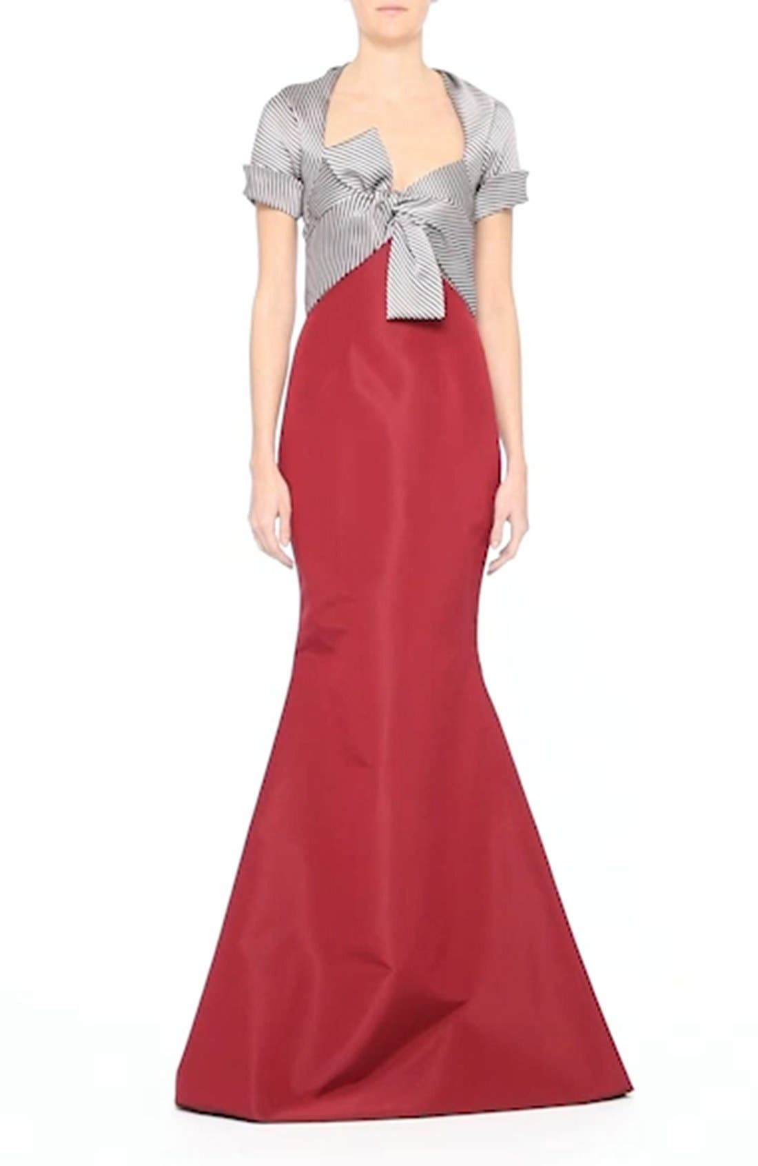 Bow Front Colorblock Gown,                             Alternate thumbnail 6, color,                             600
