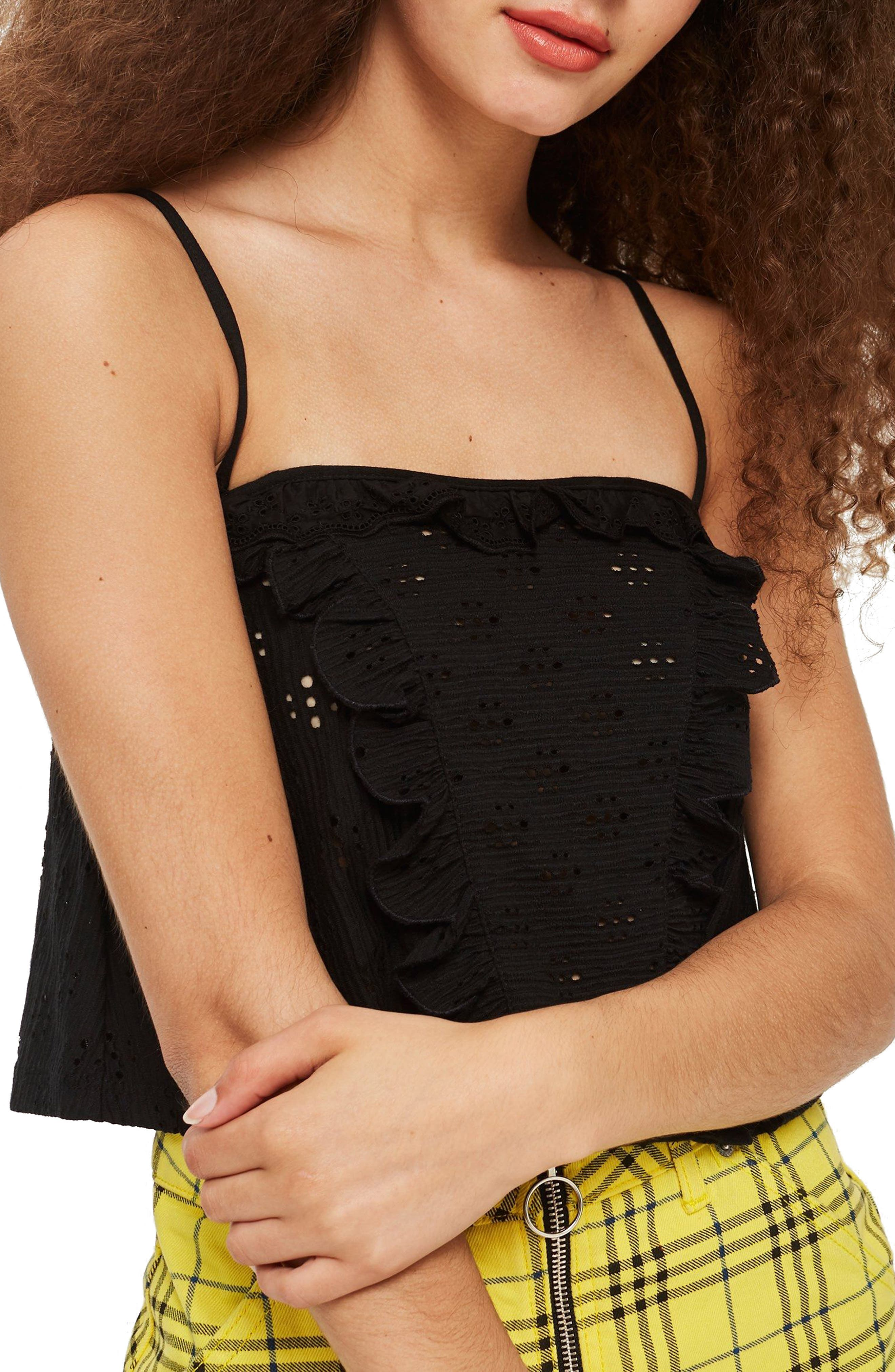 Broderie Trim Camisole Top,                             Main thumbnail 1, color,                             BLACK
