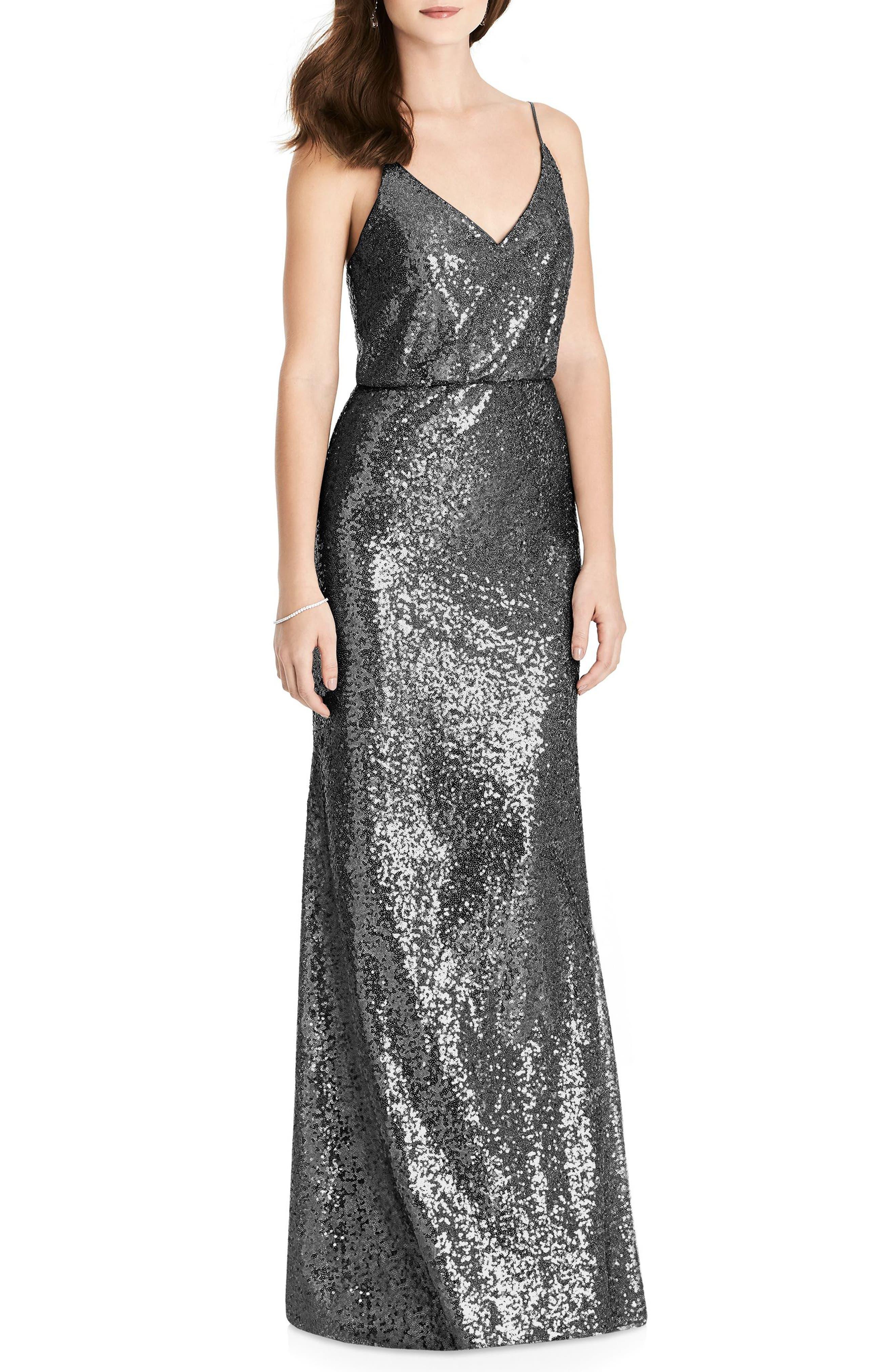 Sequin Blouson Gown,                         Main,                         color, STARDUST