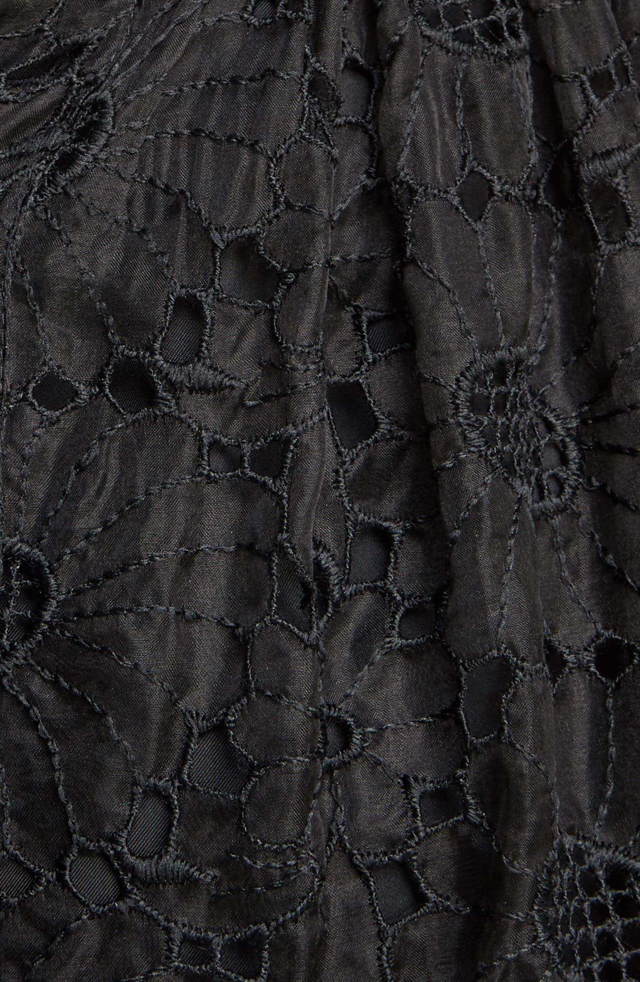 Smocked Waist Floral Organza Dress,                             Alternate thumbnail 5, color,                             001