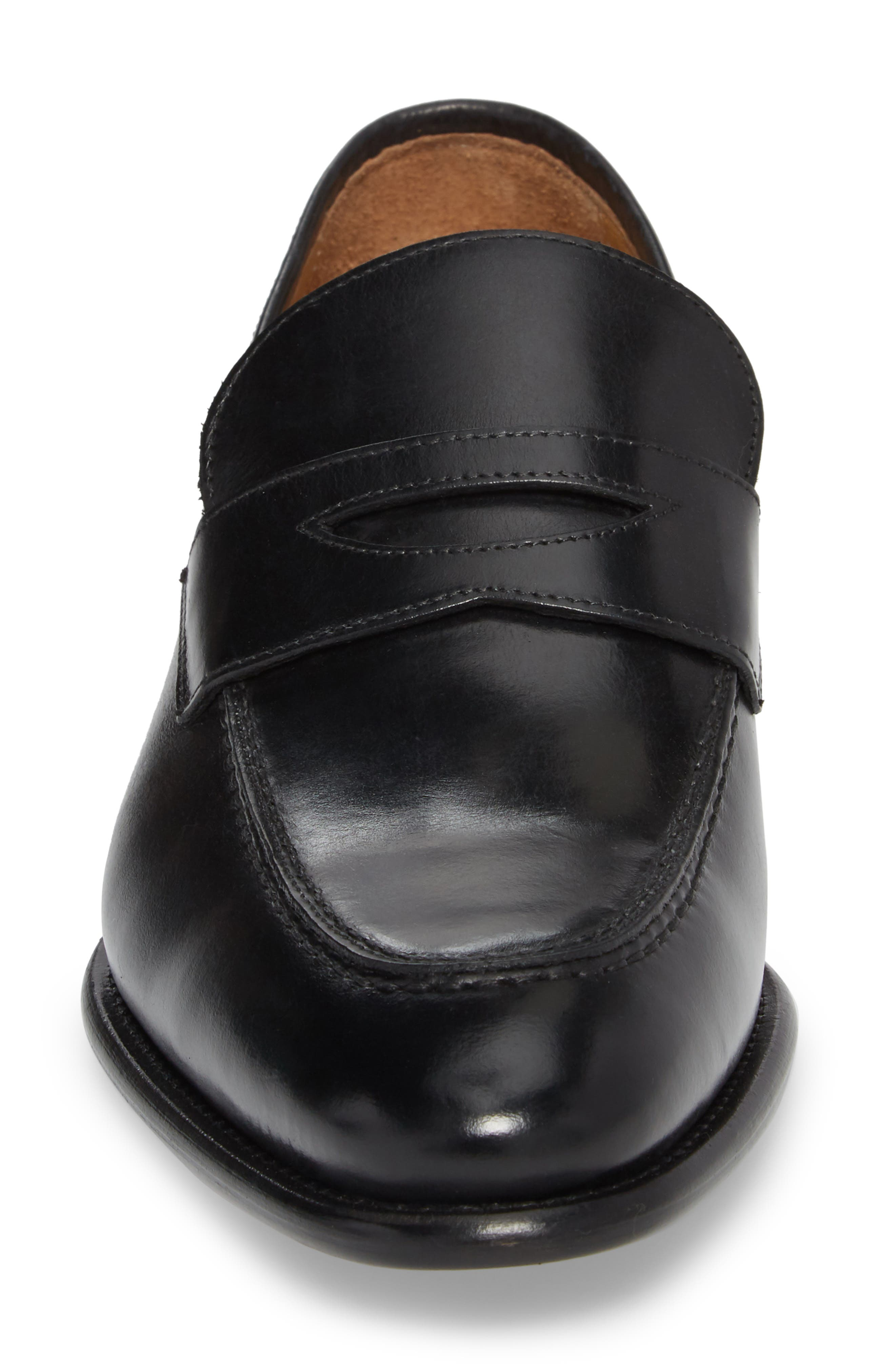 Imperial Venucci Apron Toe Penny Loafer,                             Alternate thumbnail 4, color,                             BLACK LEATHER