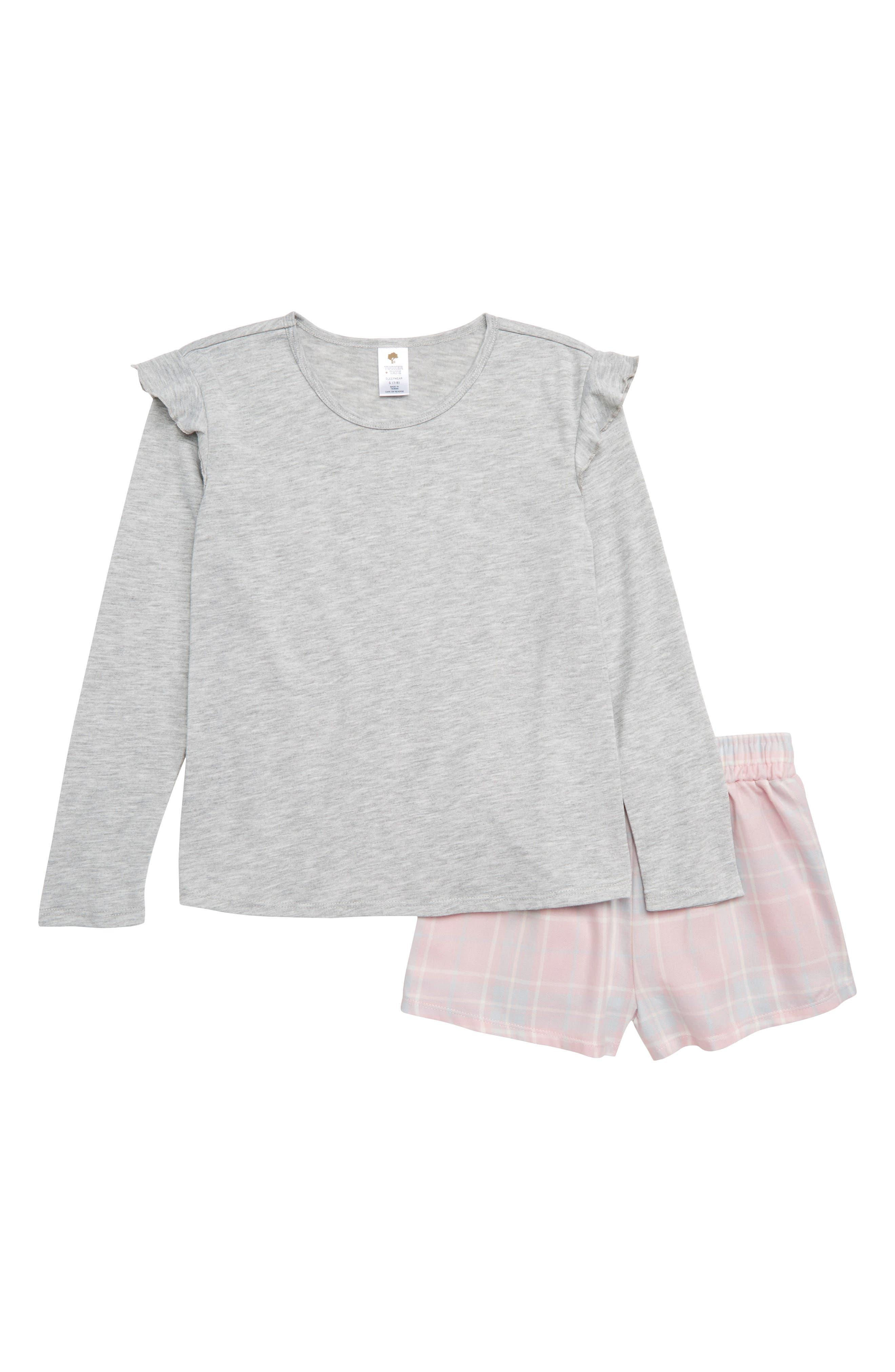 Tucker + Take Two-Piece Pajamas,                         Main,                         color, GREY ASH HEATHER- PINK PLAID