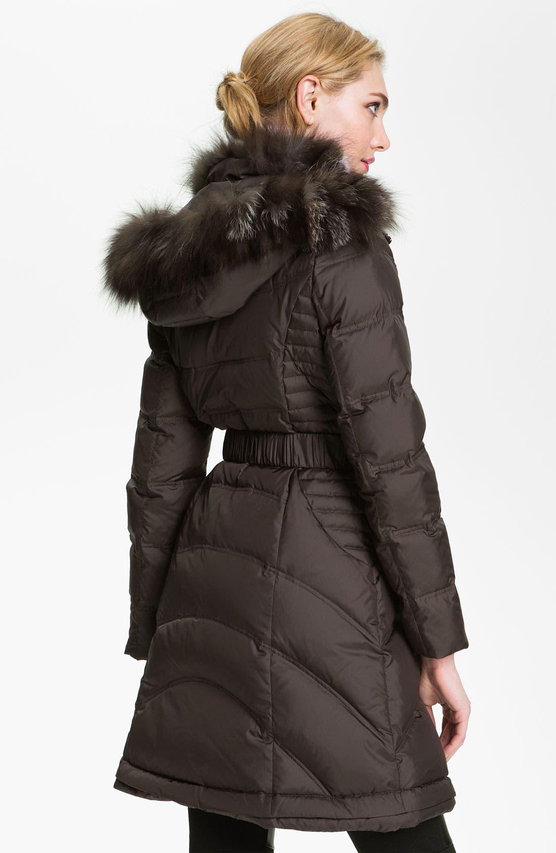 Down Coat with Genuine Fox Fur Trim,                             Alternate thumbnail 4, color,