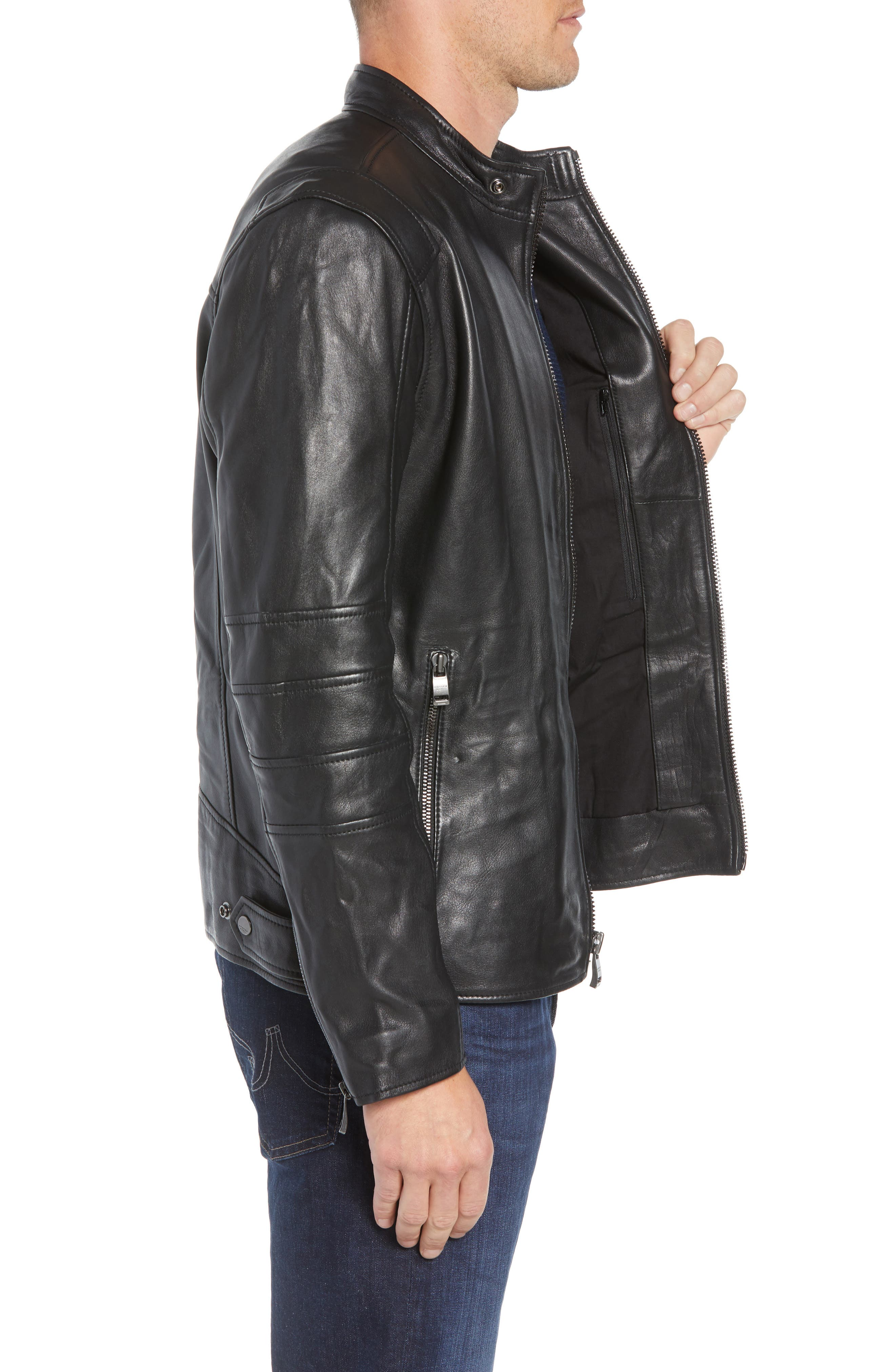 ANDREW MARC,                             Quilted Leather Moto Jacket,                             Alternate thumbnail 3, color,                             BLACK