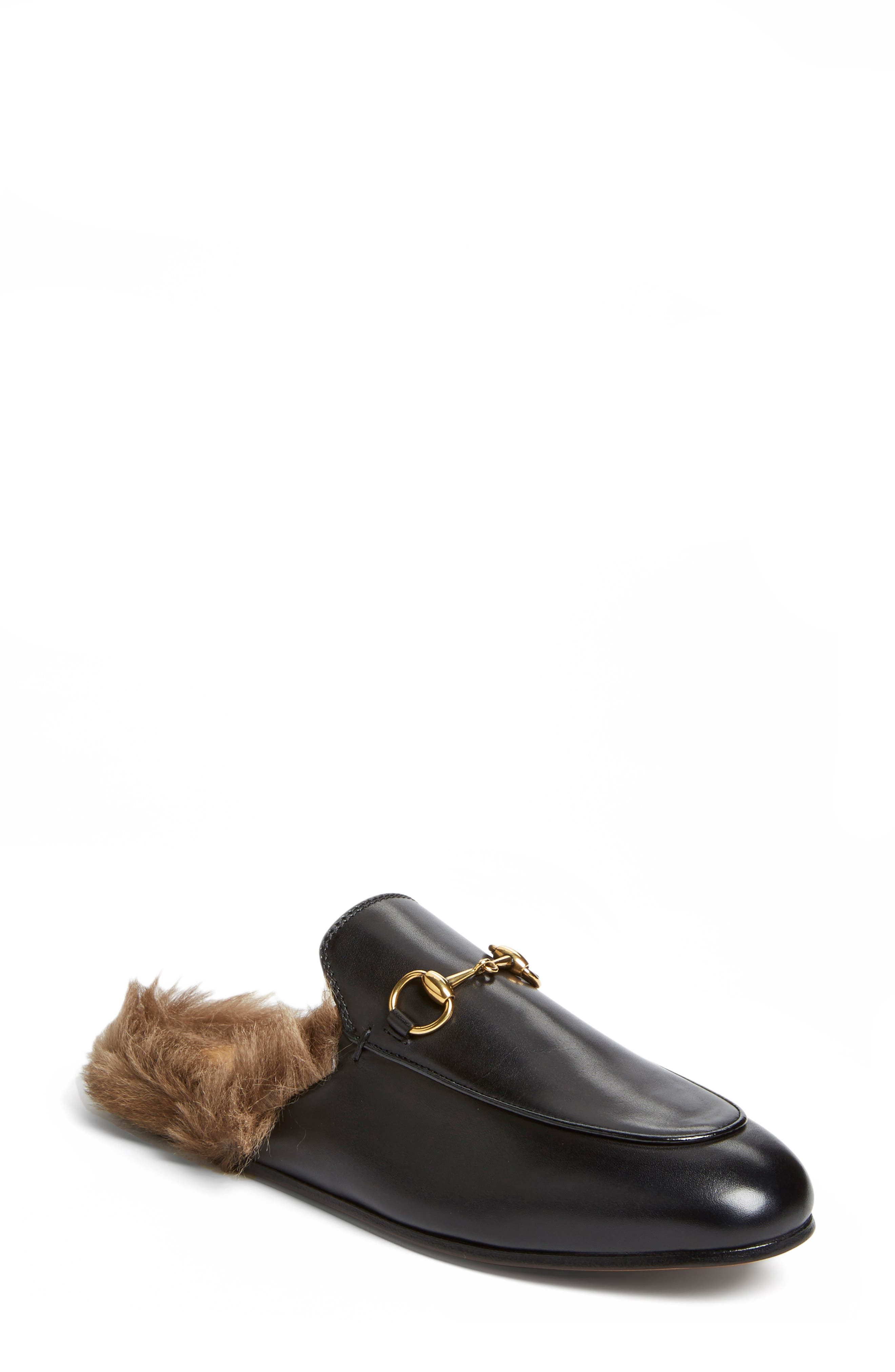 'Princetown' Genuine Shearling Loafer Mule,                             Main thumbnail 1, color,                             BLACK