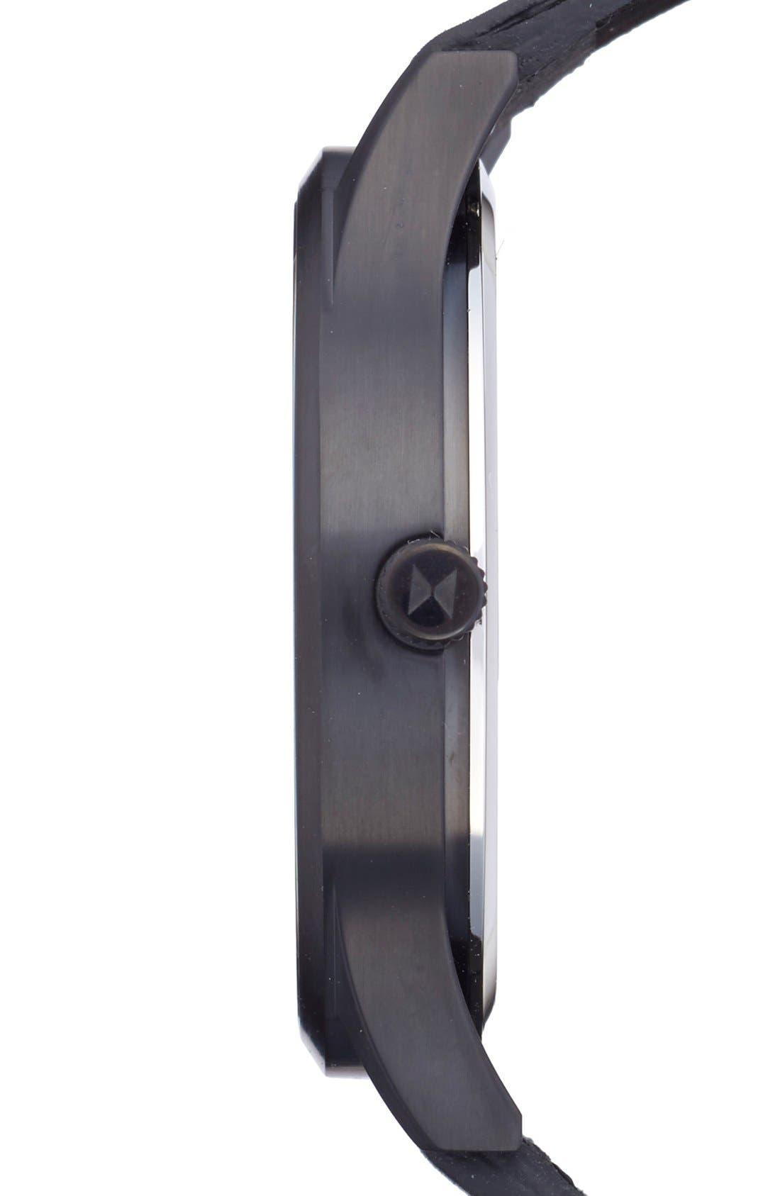 Leather Strap Watch, 45mm,                             Alternate thumbnail 3, color,                             BLACK/ BLACK