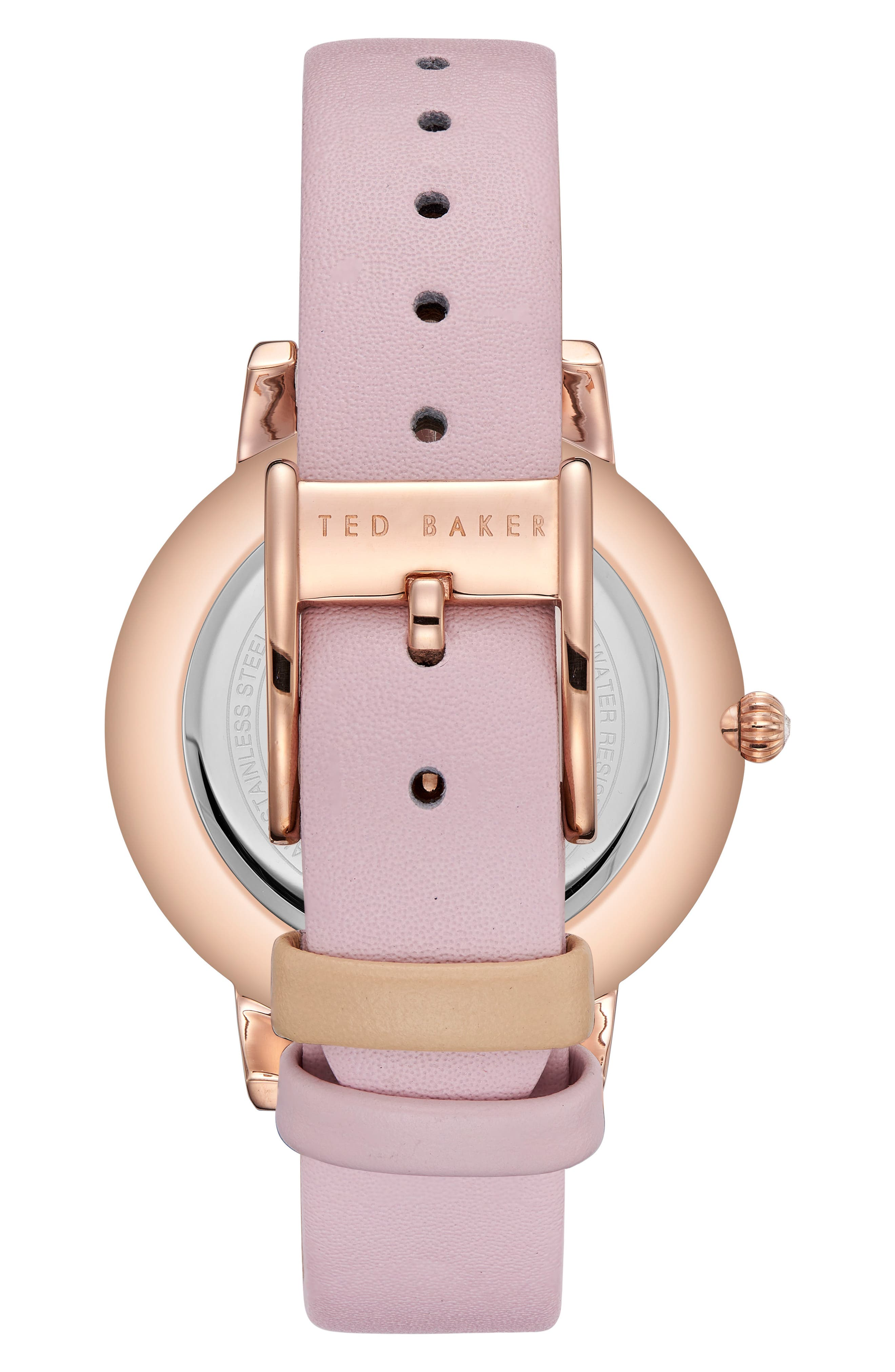 Olivia Leather Strap Watch,                             Alternate thumbnail 2, color,                             PINK/ WHITE/ ROSE GOLD