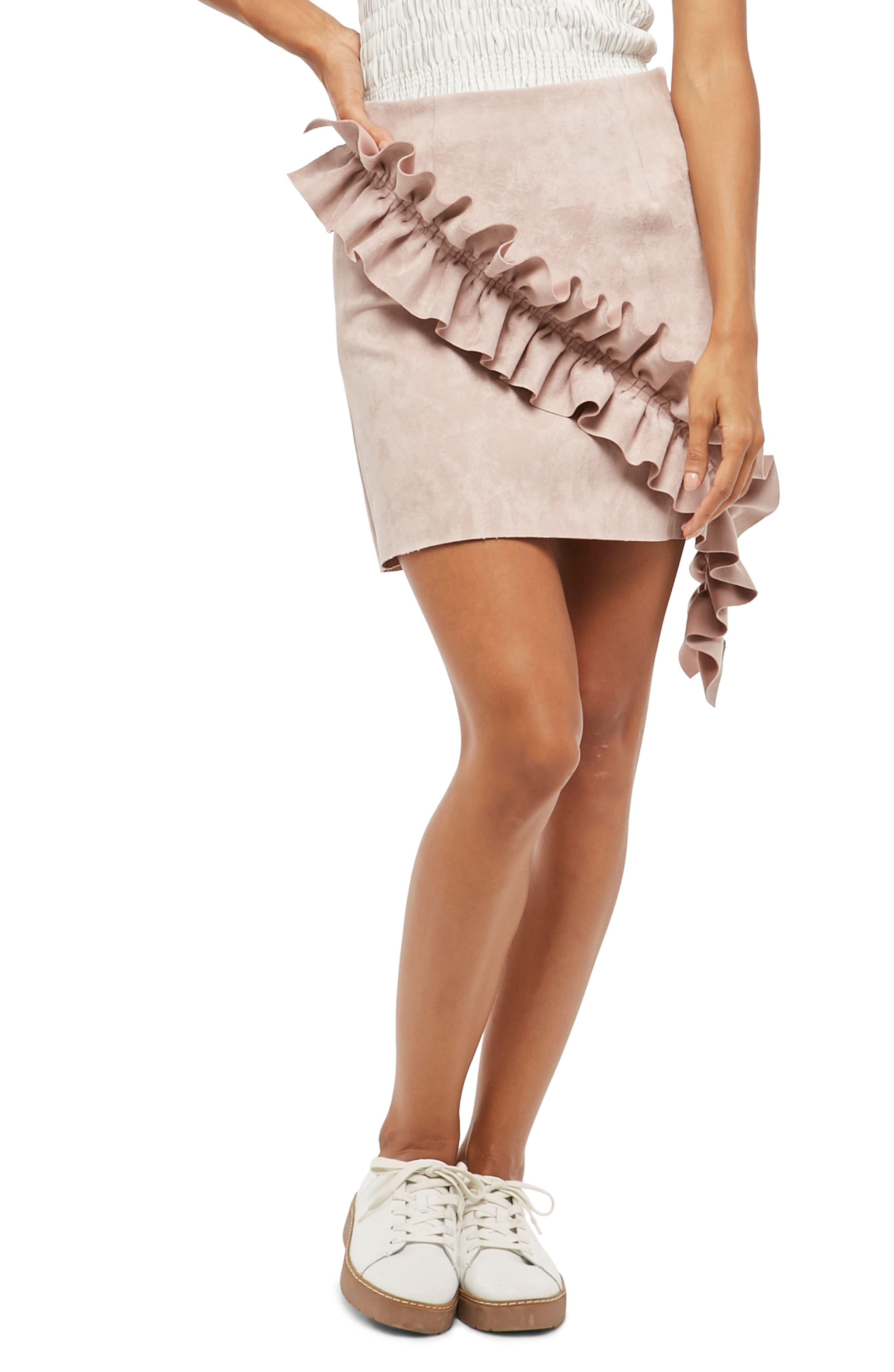 Alpha & Omeda Faux Suede Ruffle Skirt,                             Main thumbnail 1, color,                             563