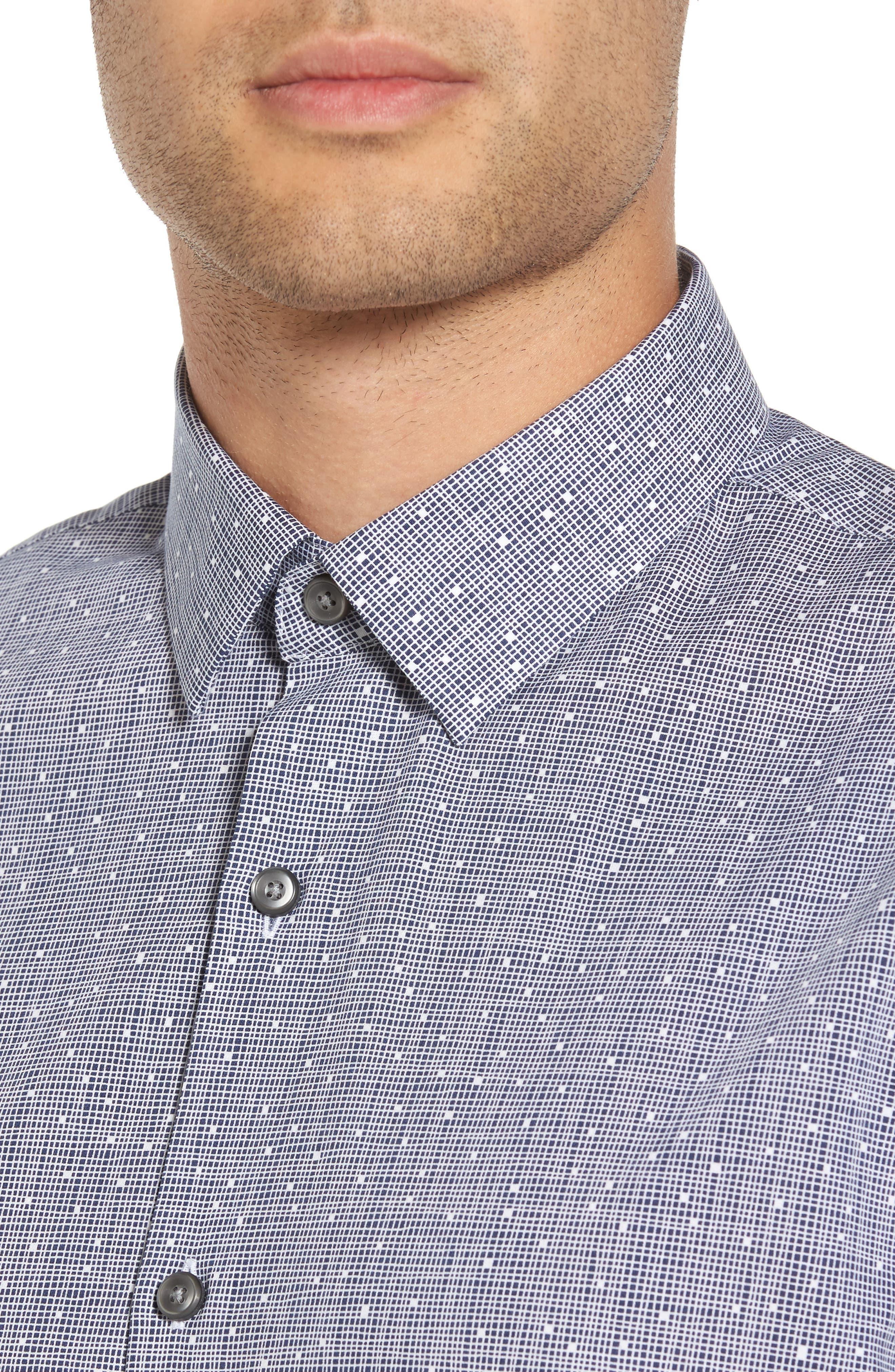 Slim Fit No-Iron Print Sport Shirt,                             Alternate thumbnail 4, color,