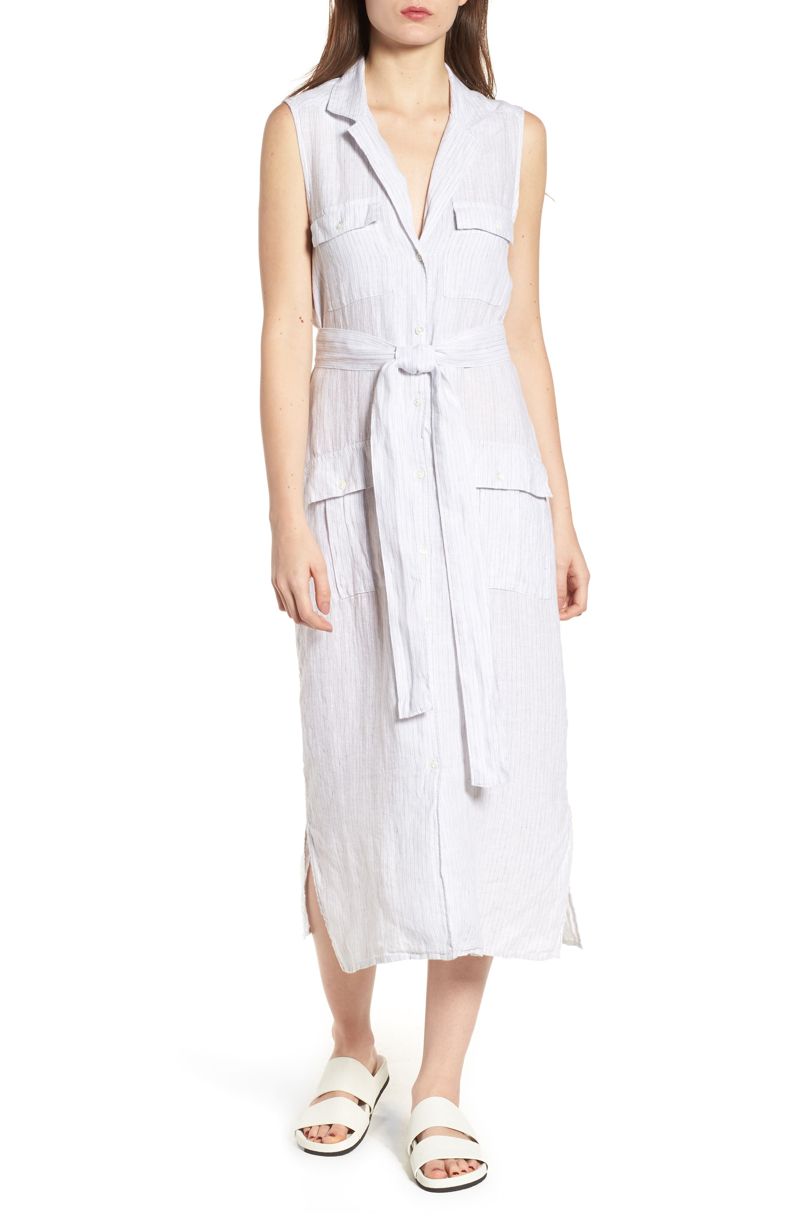 Stripe Linen Shirtdress,                             Main thumbnail 1, color,                             053
