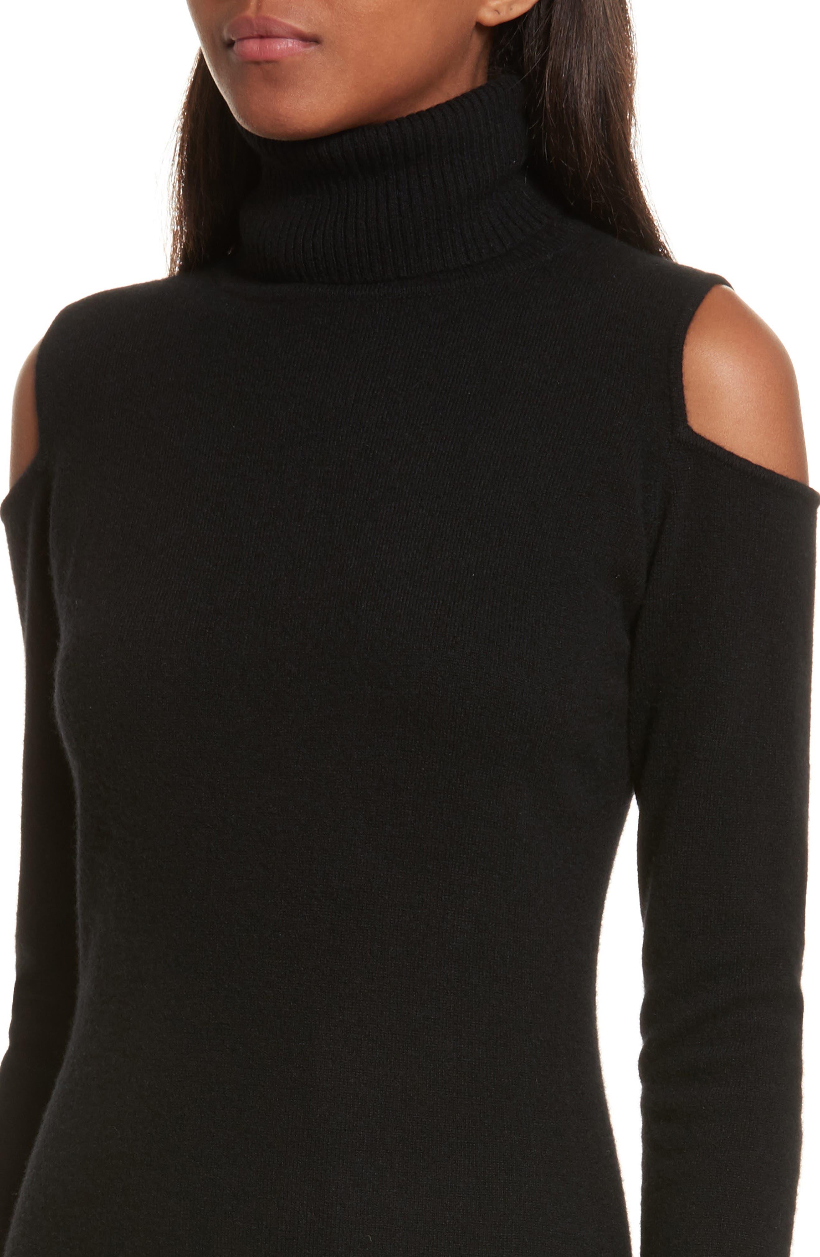 Cashmere Cold Shoulder Turtleneck Sweater Dress,                             Alternate thumbnail 7, color,