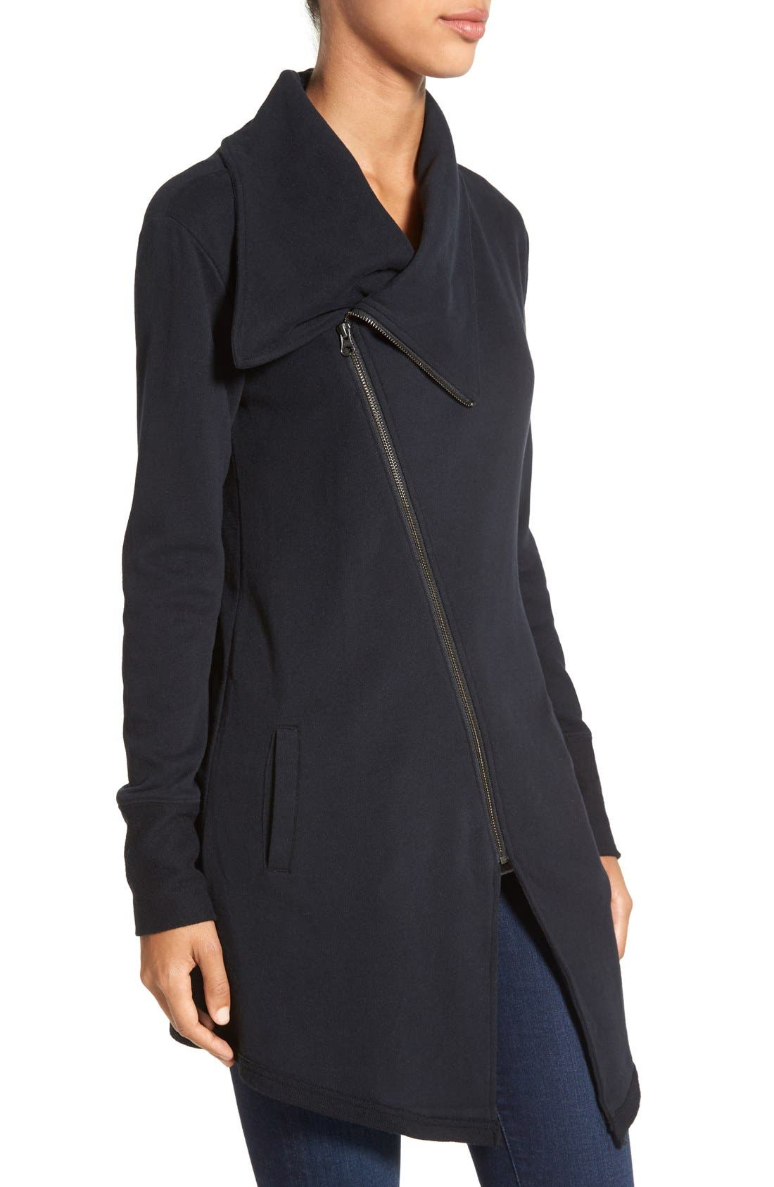 Asymmetrical Drape Collar Terry Jacket,                             Alternate thumbnail 2, color,                             001