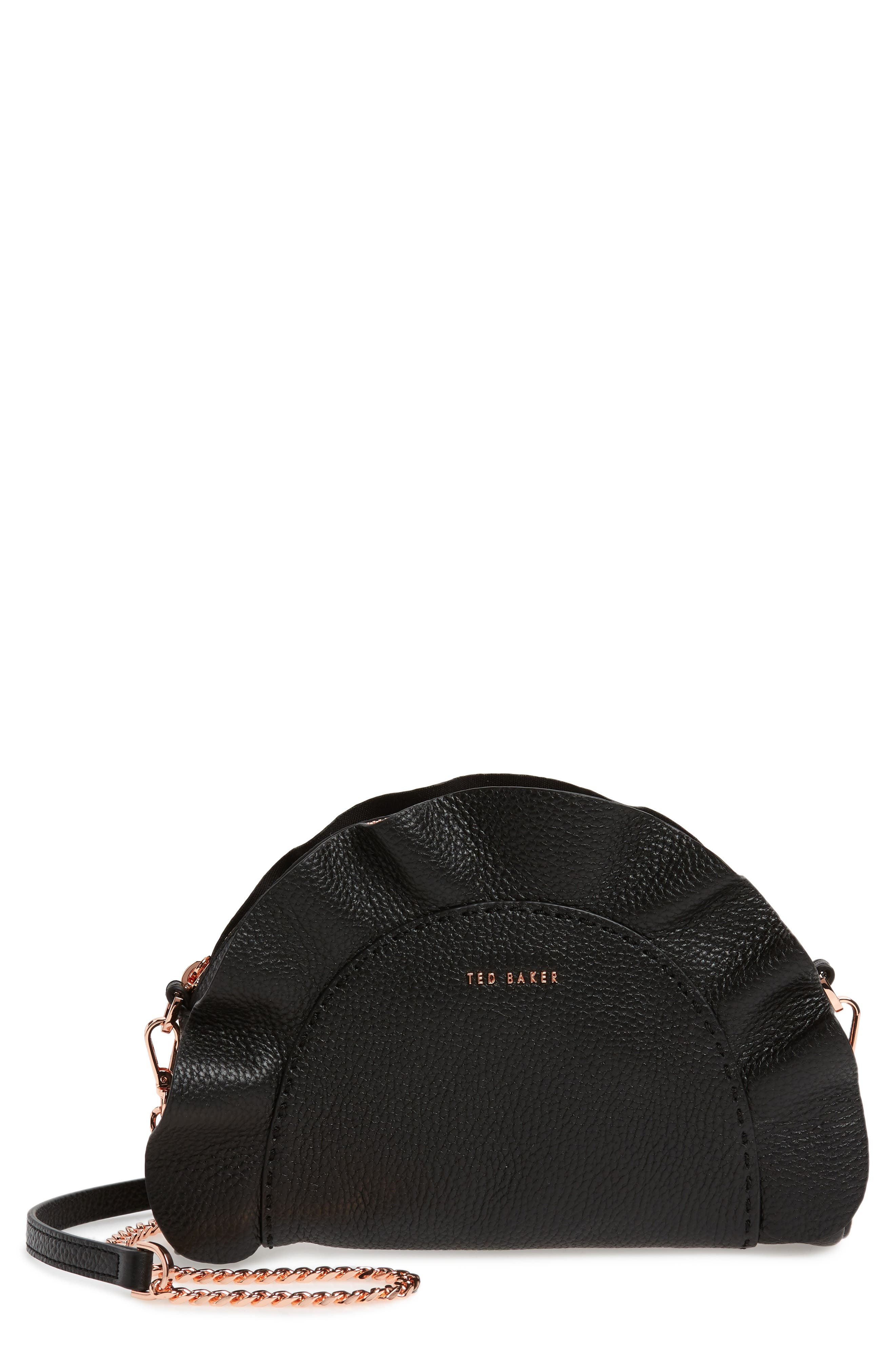 TED BAKER LONDON Ruffle Half Moon Leather Crossbody Bag, Main, color, 001