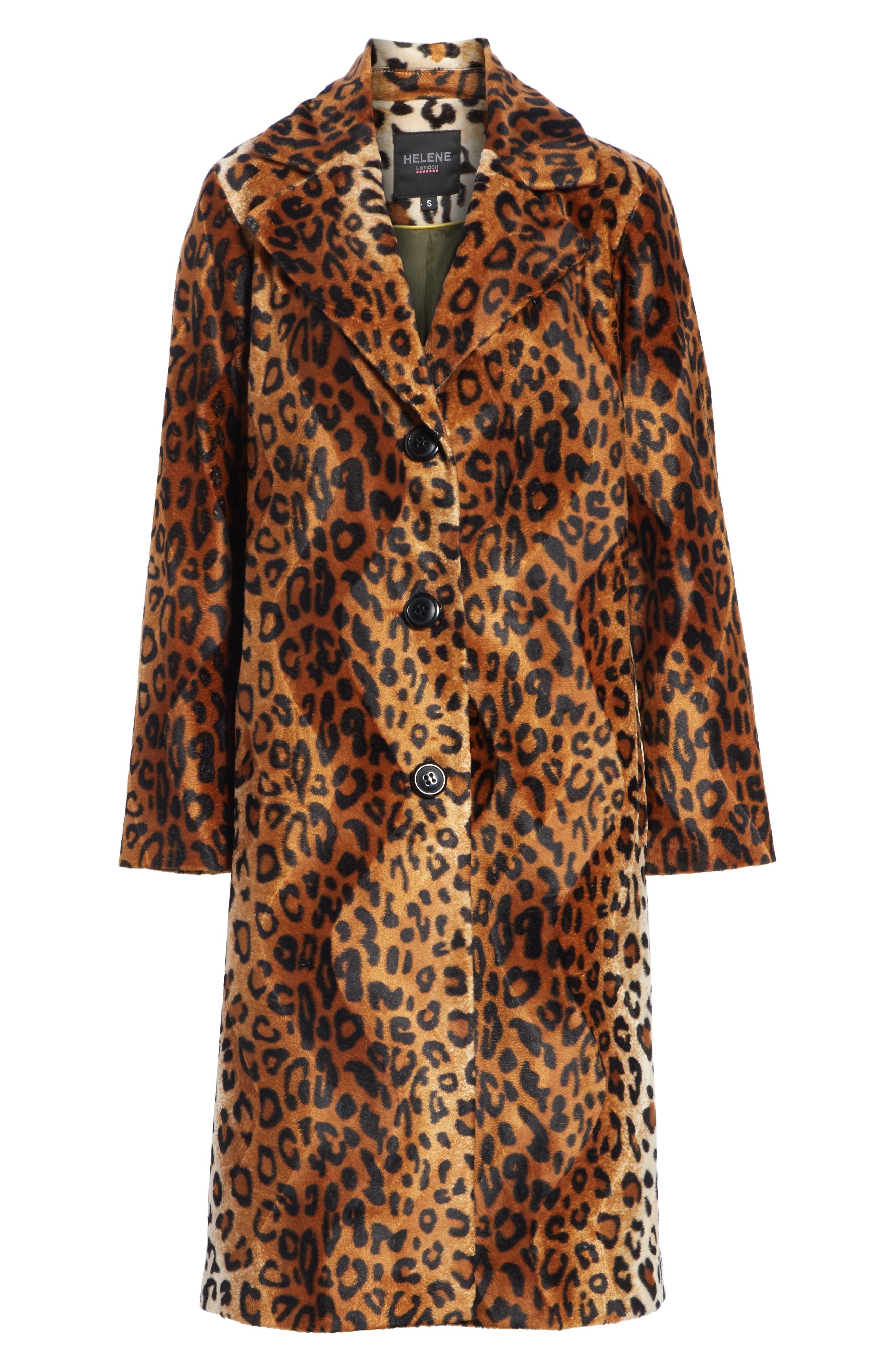 Faux Leopard Fur Coat,                             Alternate thumbnail 5, color,                             BROWN LEOPARD