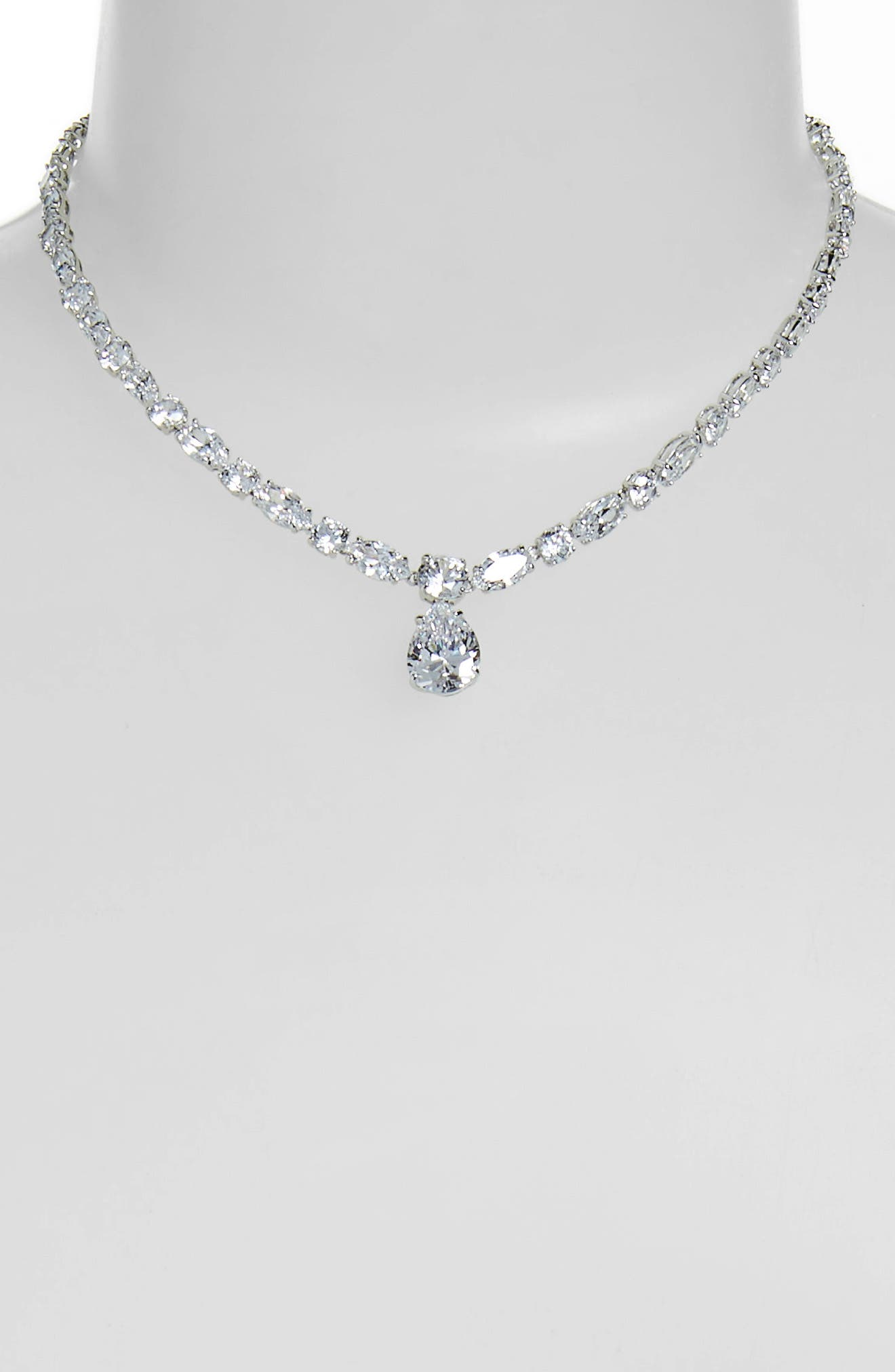 Mixed Cut Cubic Zirconia Riviera Necklace,                             Alternate thumbnail 2, color,                             CLEAR- SILVER