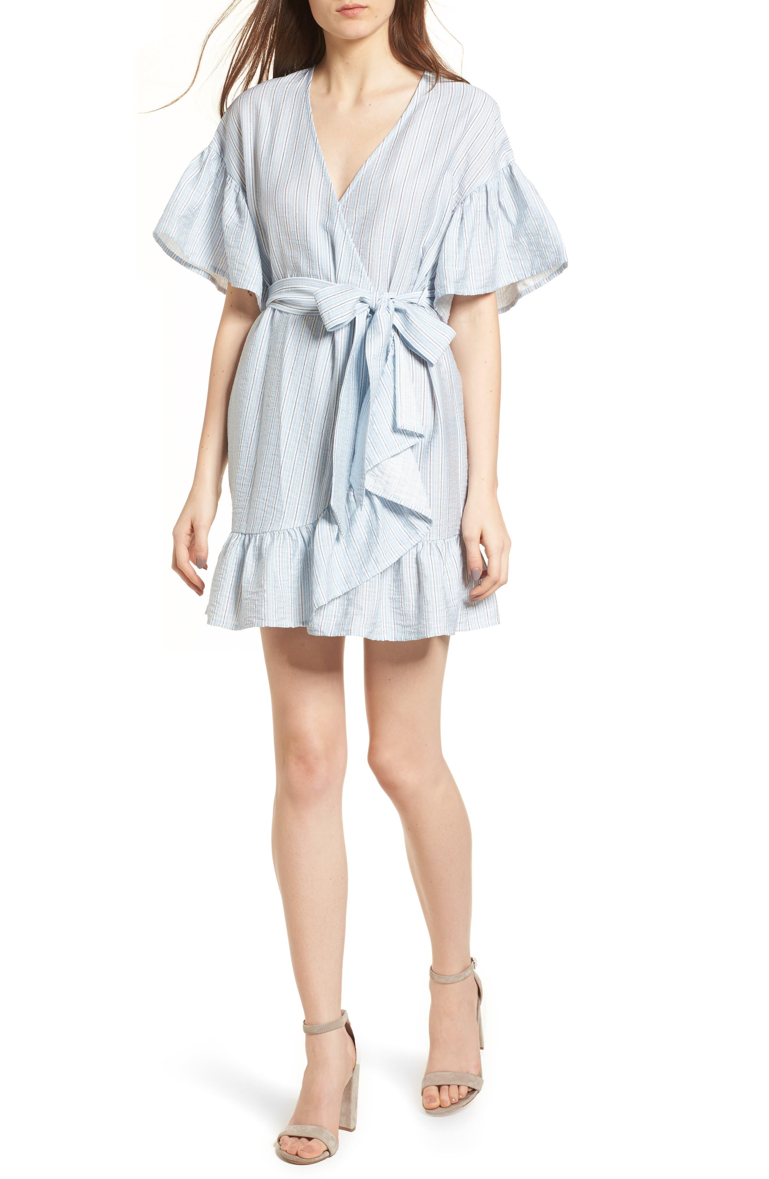 Stripe Ruffle Wrap Dress,                             Main thumbnail 1, color,                             400