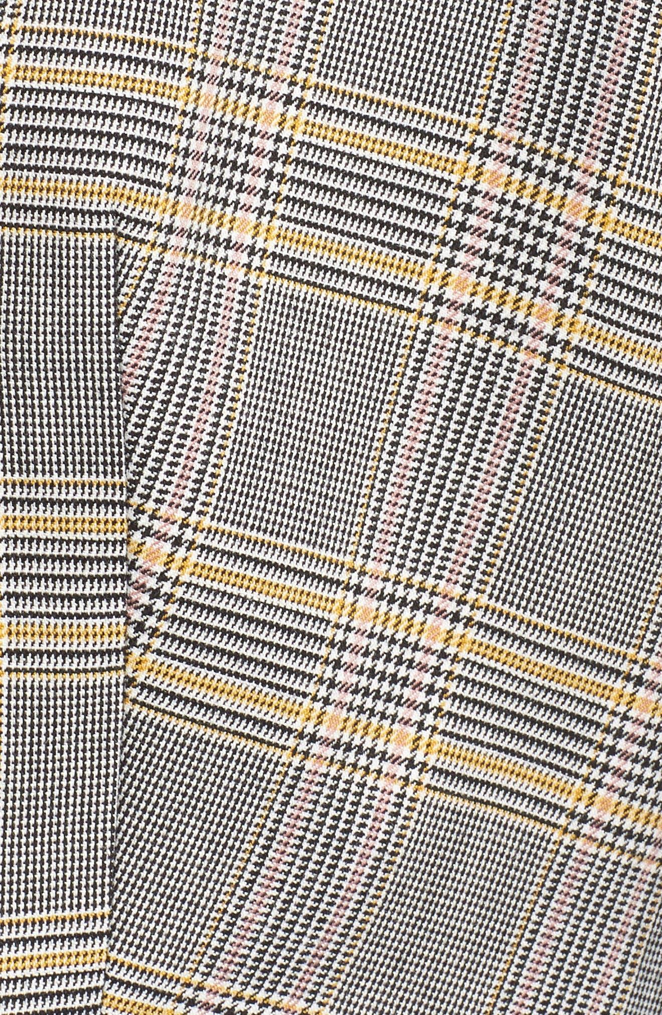 Plaid Ruched Sleeve Blazer,                             Alternate thumbnail 6, color,                             RICH BLACK