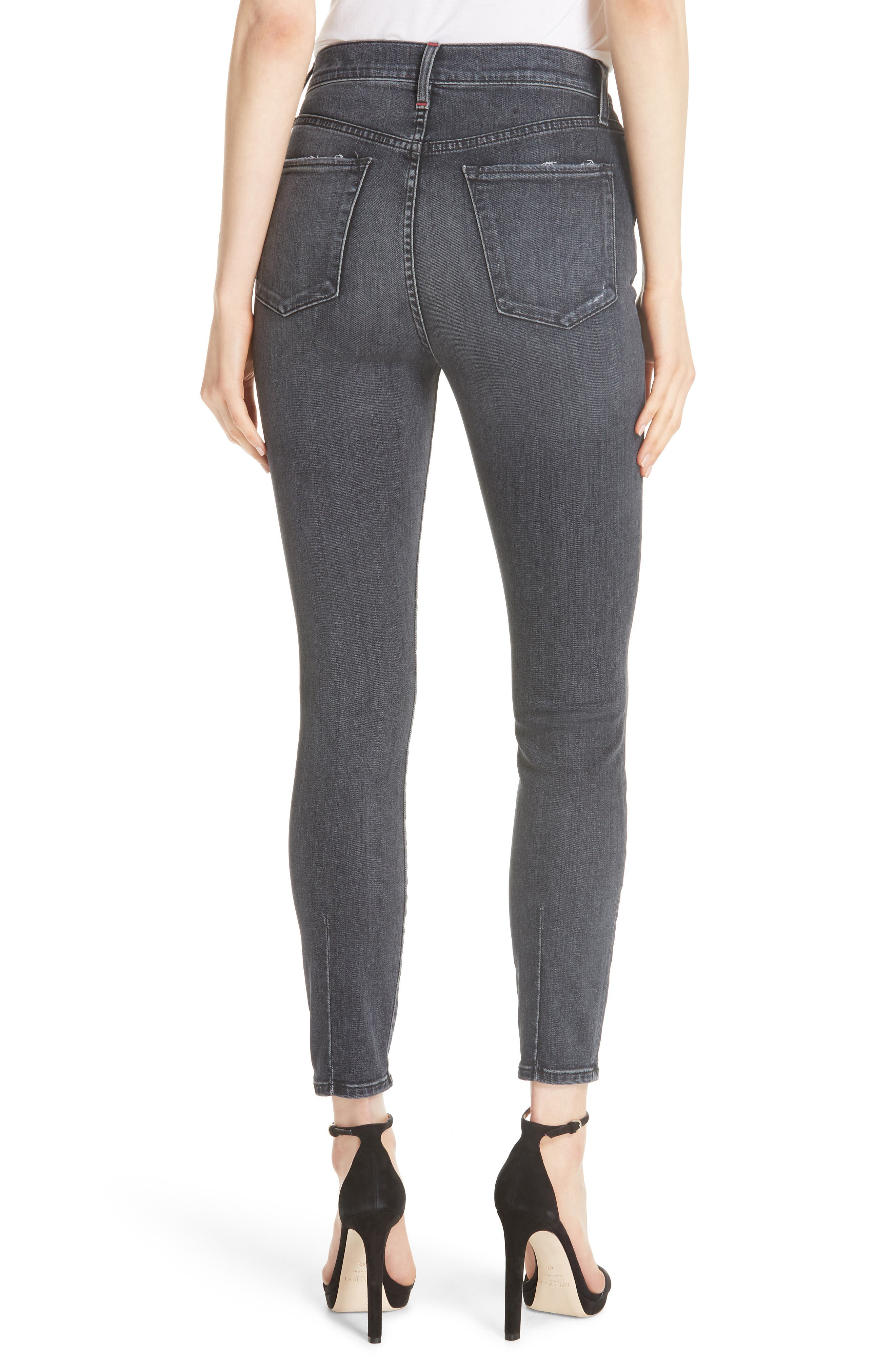 Good High Waist Ankle Skinny Jeans,                             Alternate thumbnail 2, color,                             BLACK MAGIC