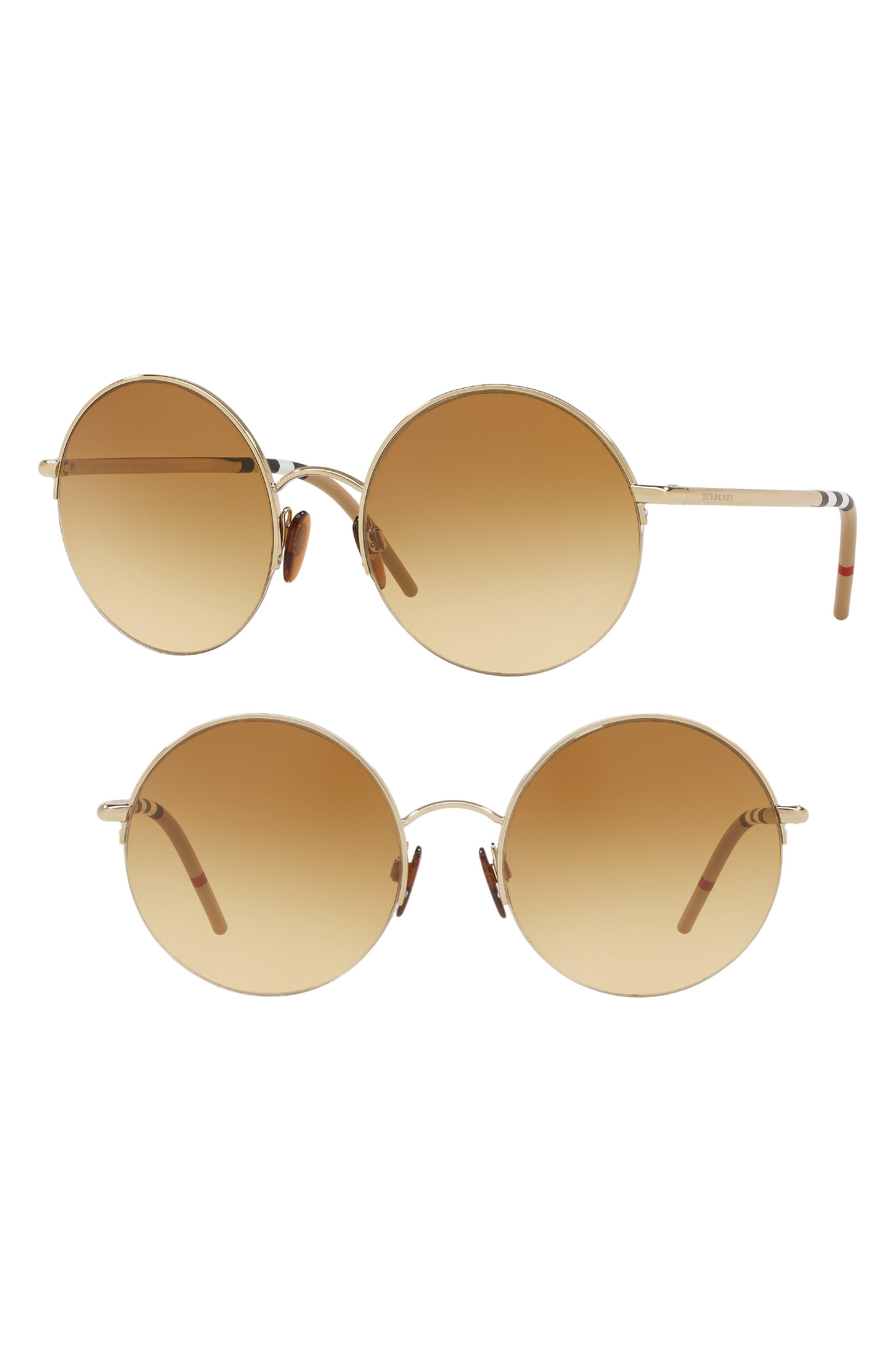 54mm Round Sunglasses,                             Main thumbnail 1, color,                             GOLD GRADIENT