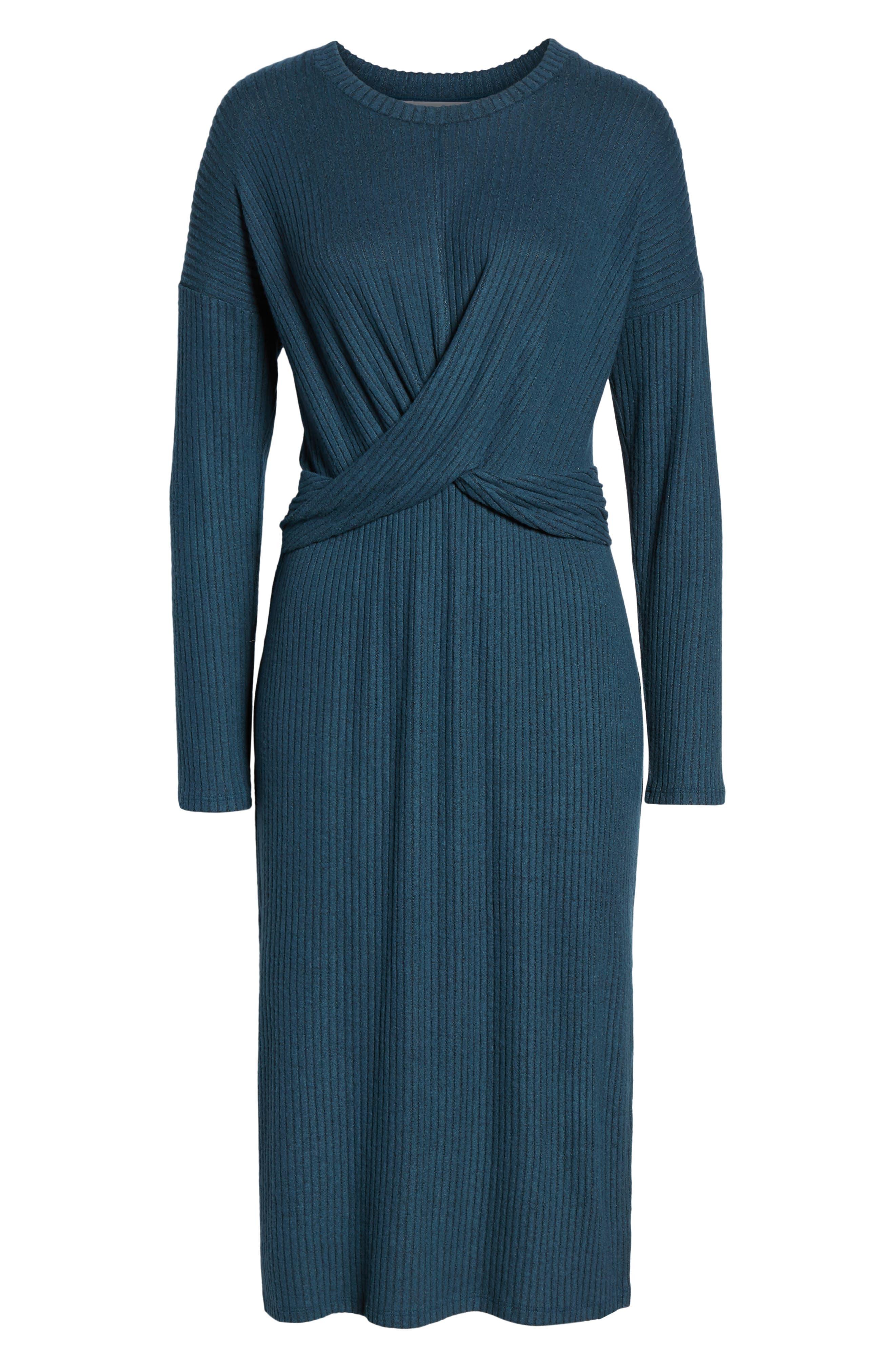 ALL IN FAVOR,                             Rib Knit Midi Dress,                             Alternate thumbnail 7, color,                             MIDNIGHT NAVY