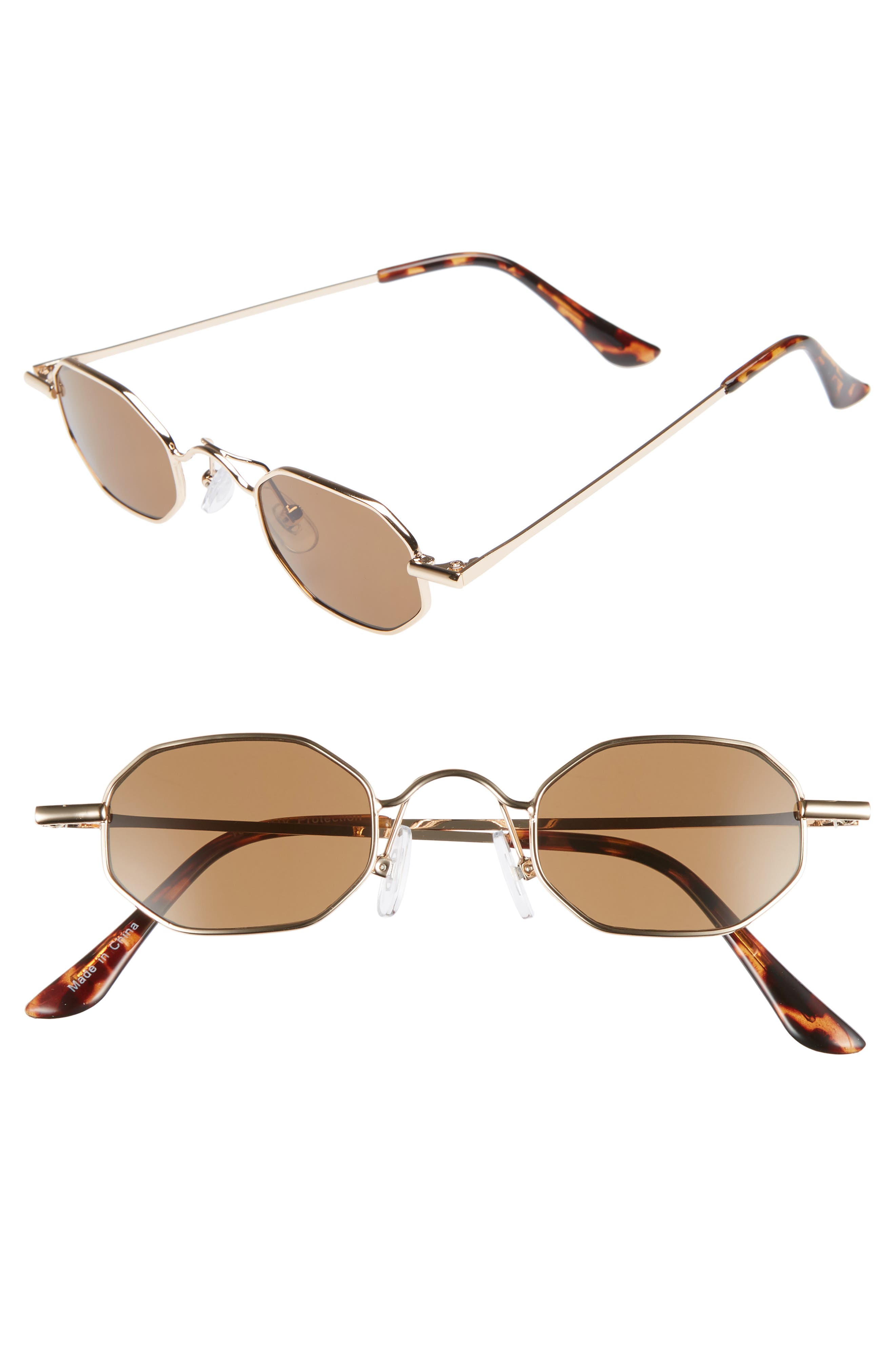 40mm Mini Hexagon Sunglasses,                             Main thumbnail 1, color,                             BROWN GOLD