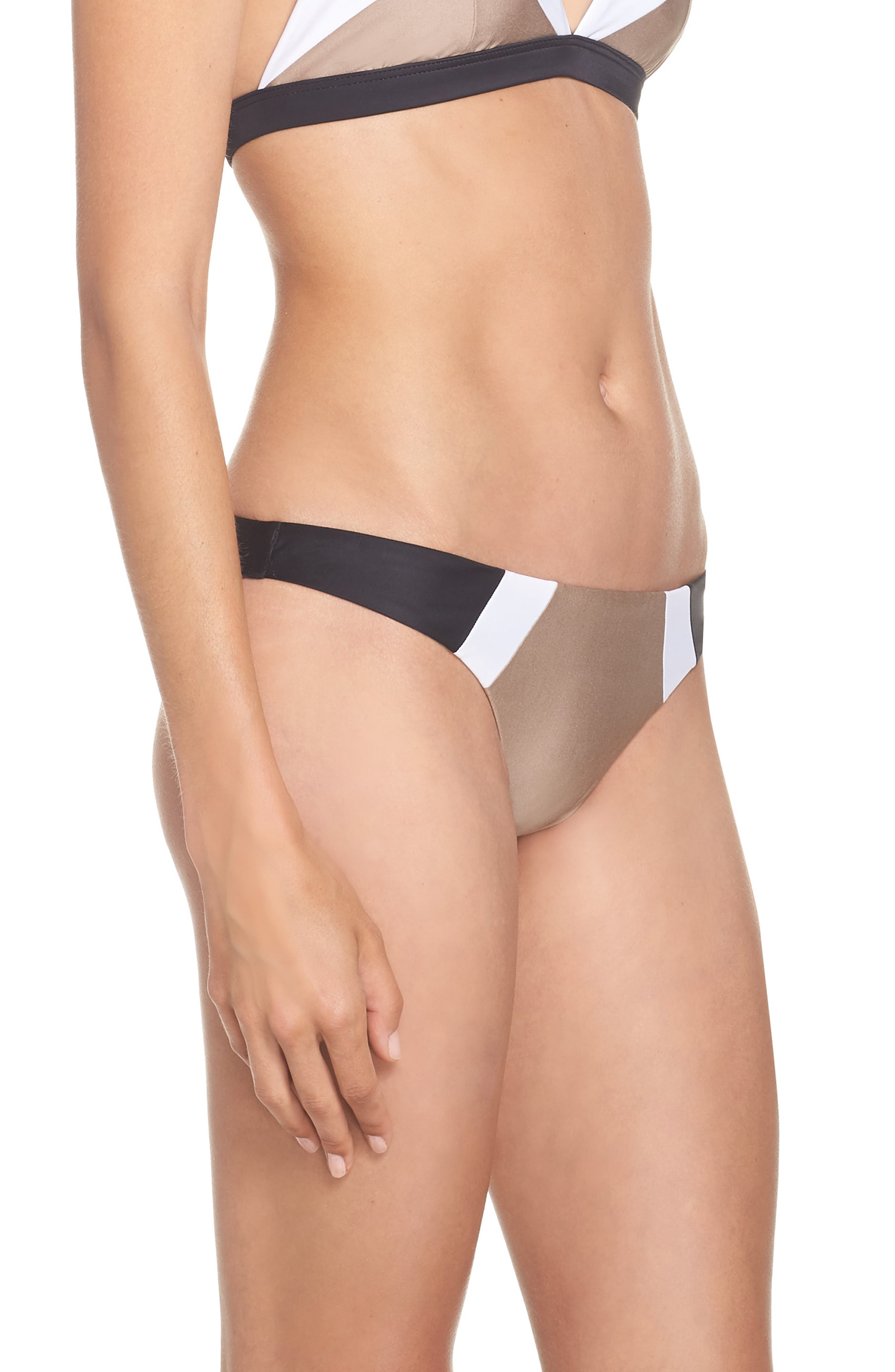 Teeny Colorblock Bikini Bottoms,                             Alternate thumbnail 3, color,                             CADILLAC
