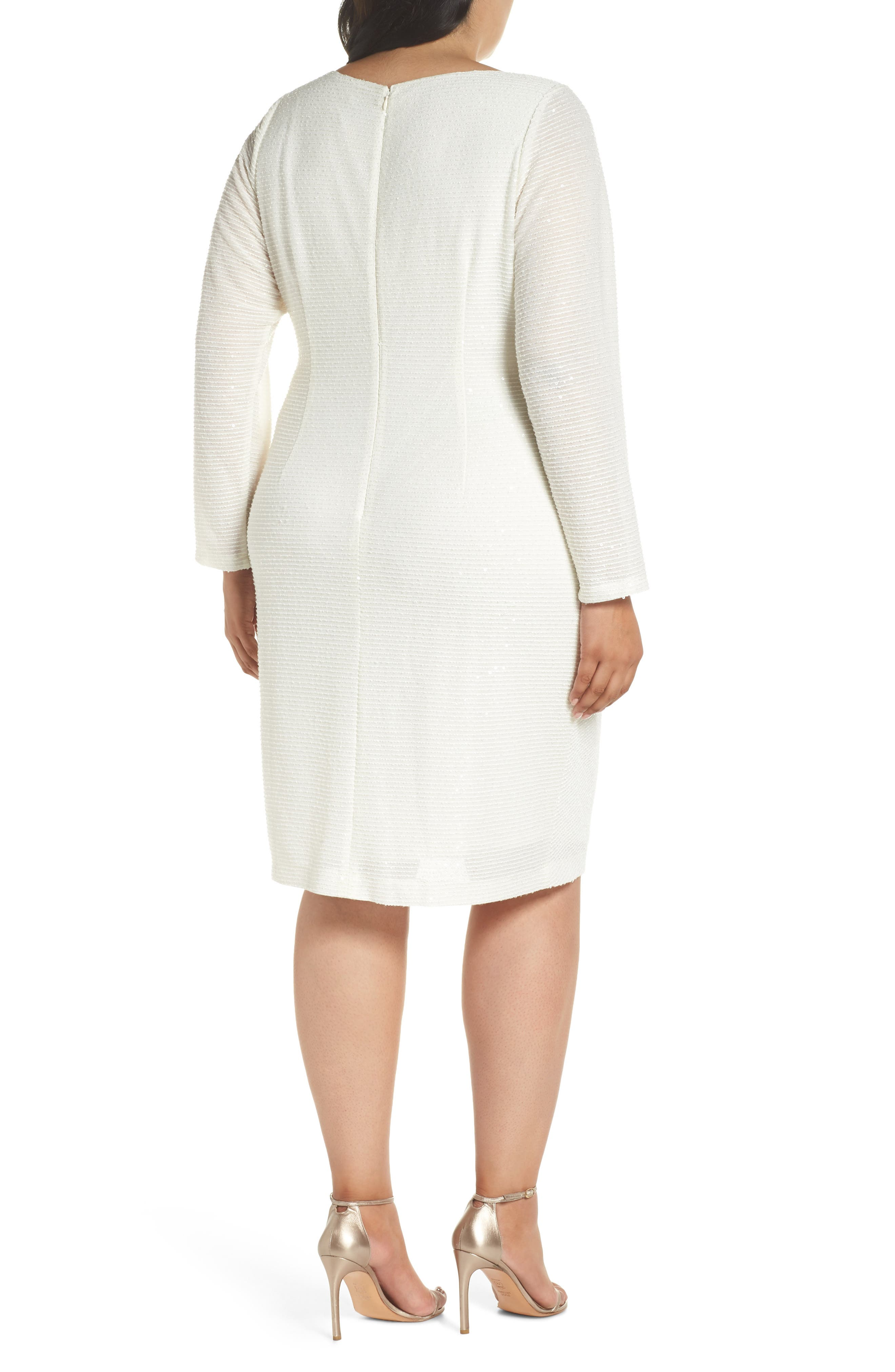 Sequin & Ruched Body-Con Dress,                             Alternate thumbnail 2, color,                             IVORY