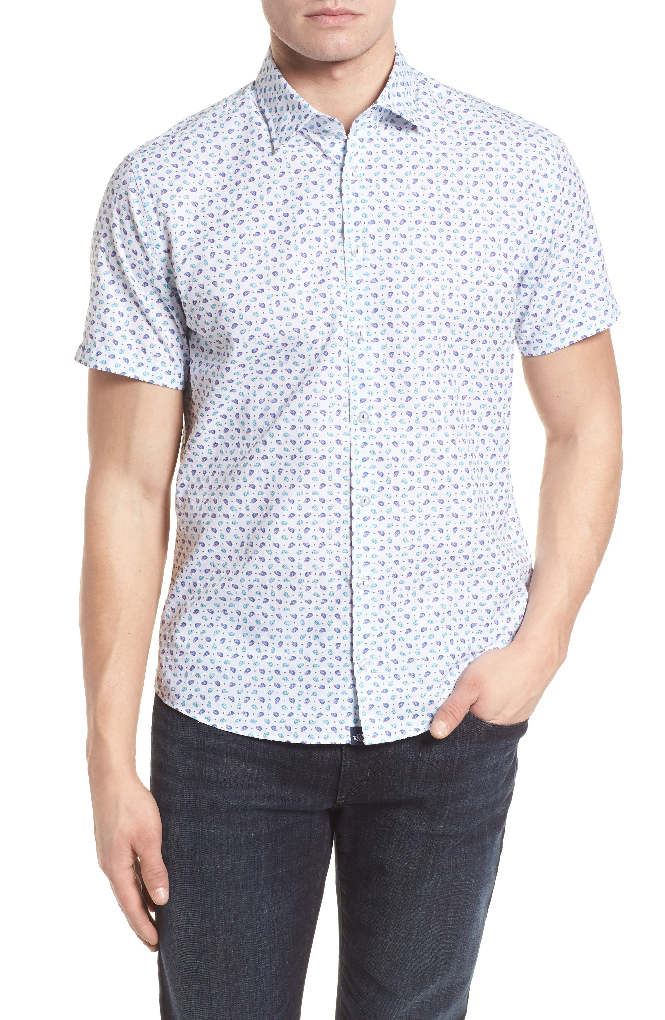 Contemporary Fit Cap Print Sport Shirt,                         Main,                         color, 100