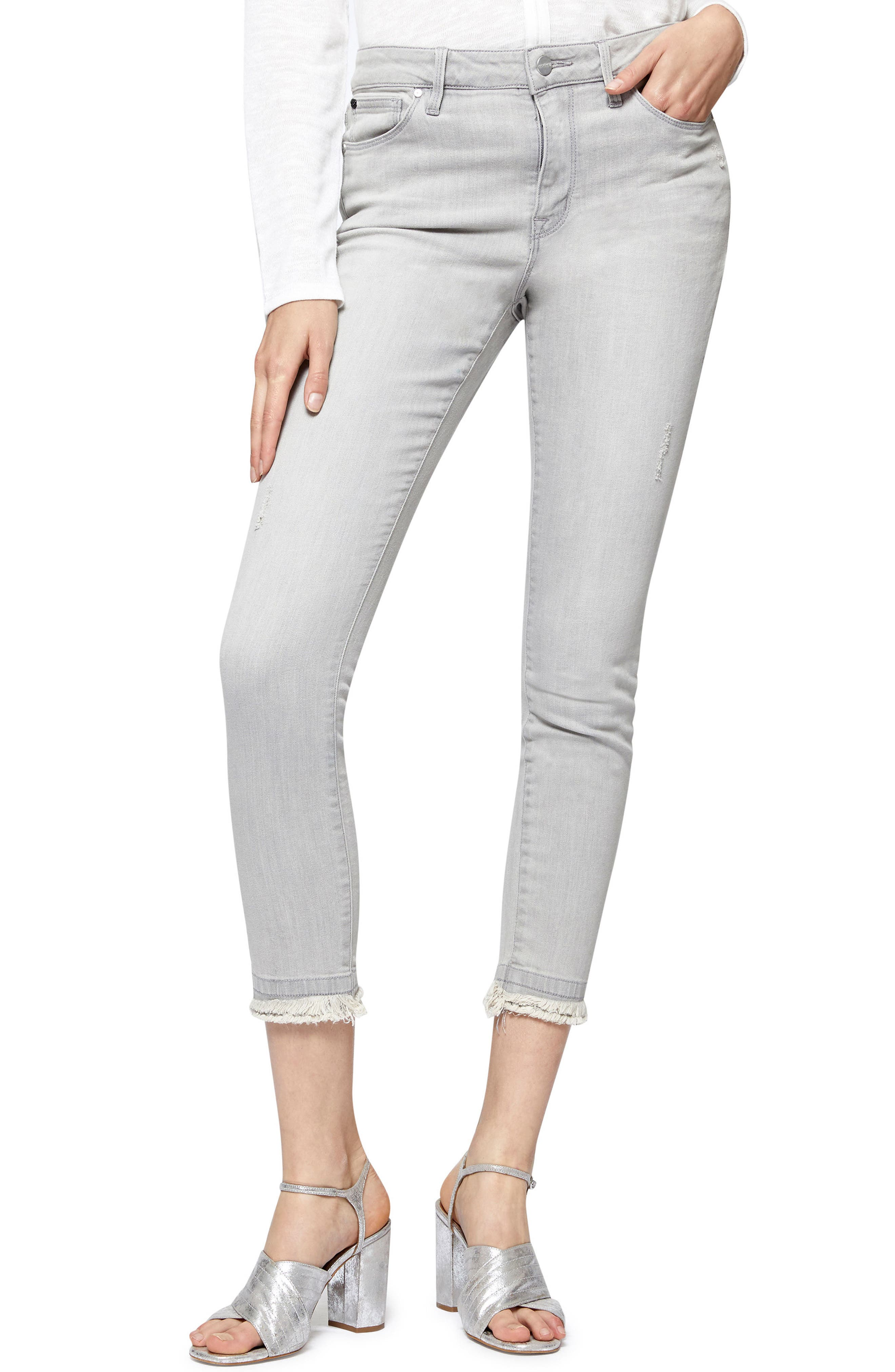 Saige Double Fray Ankle Jeans,                             Main thumbnail 1, color,                             020